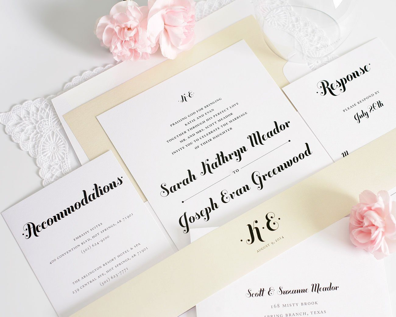 Whimsical Neutral Wedding Invitations
