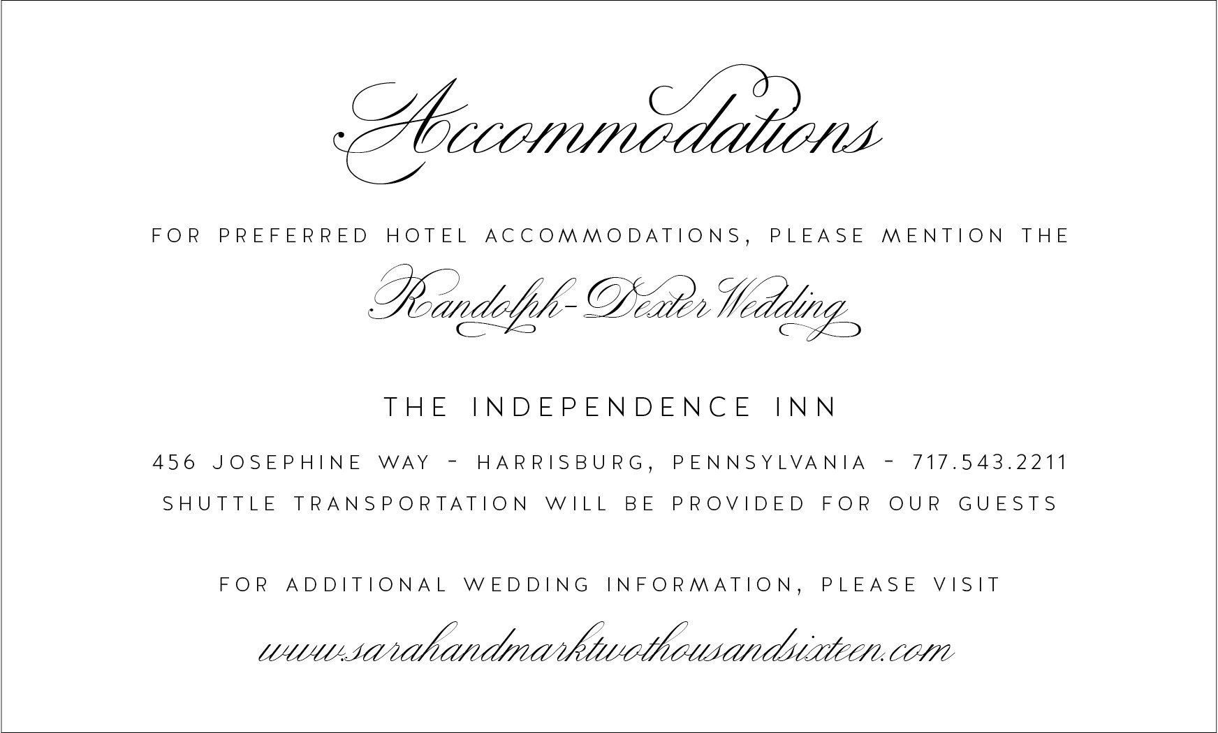 Accommodations, Travel, Directions card