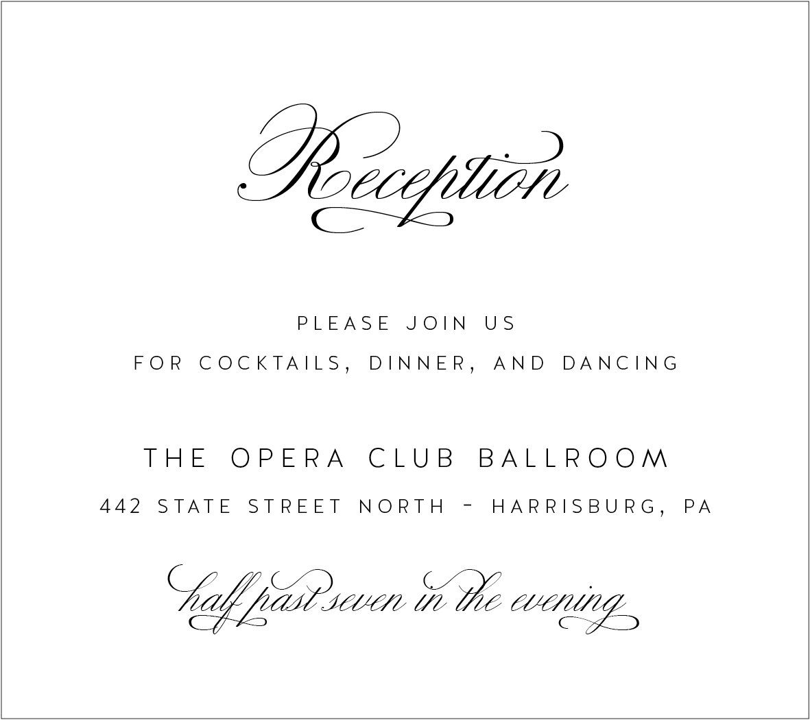 Reception Card with gorgeous script font