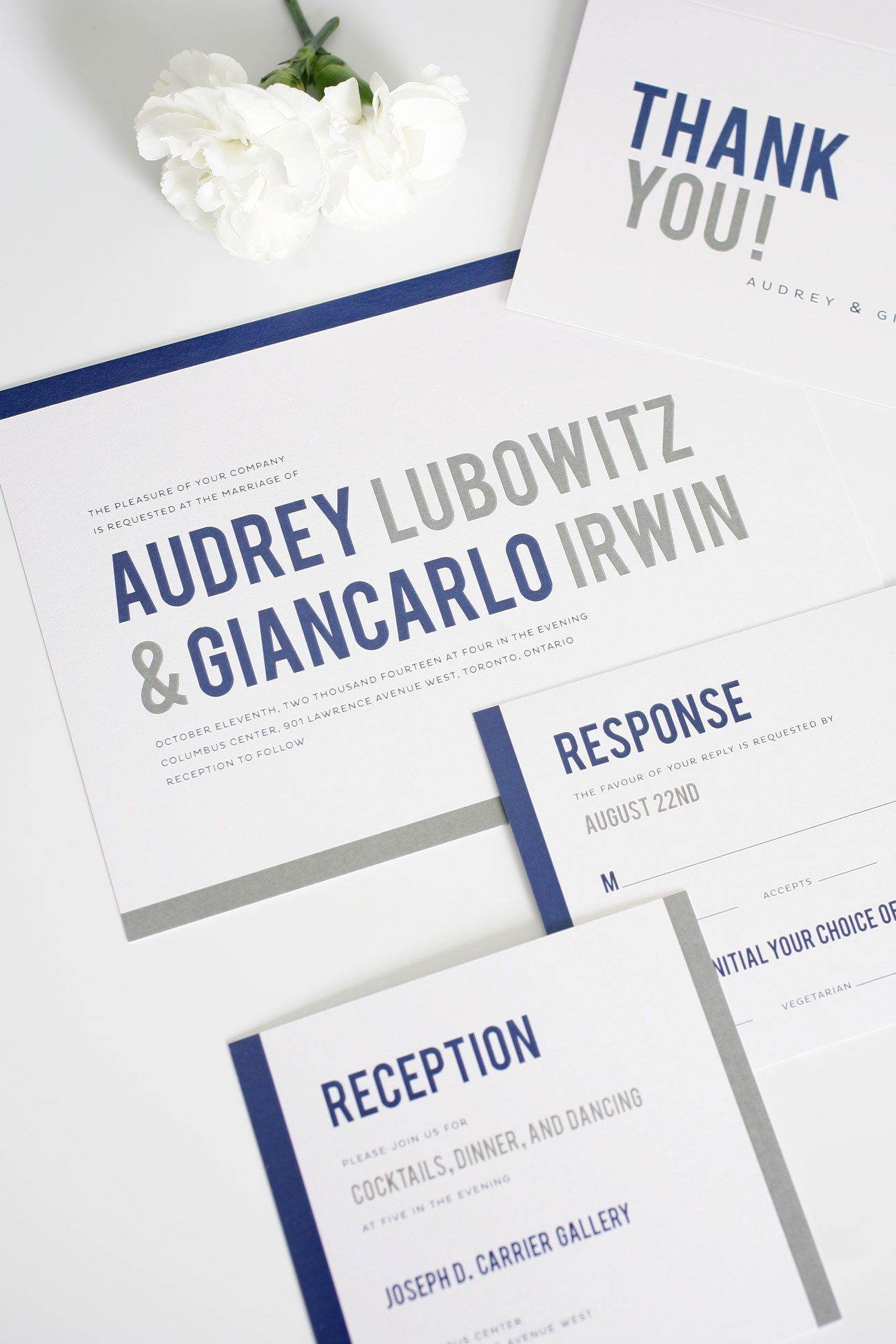 Navy and Gray wedding invitations with borders