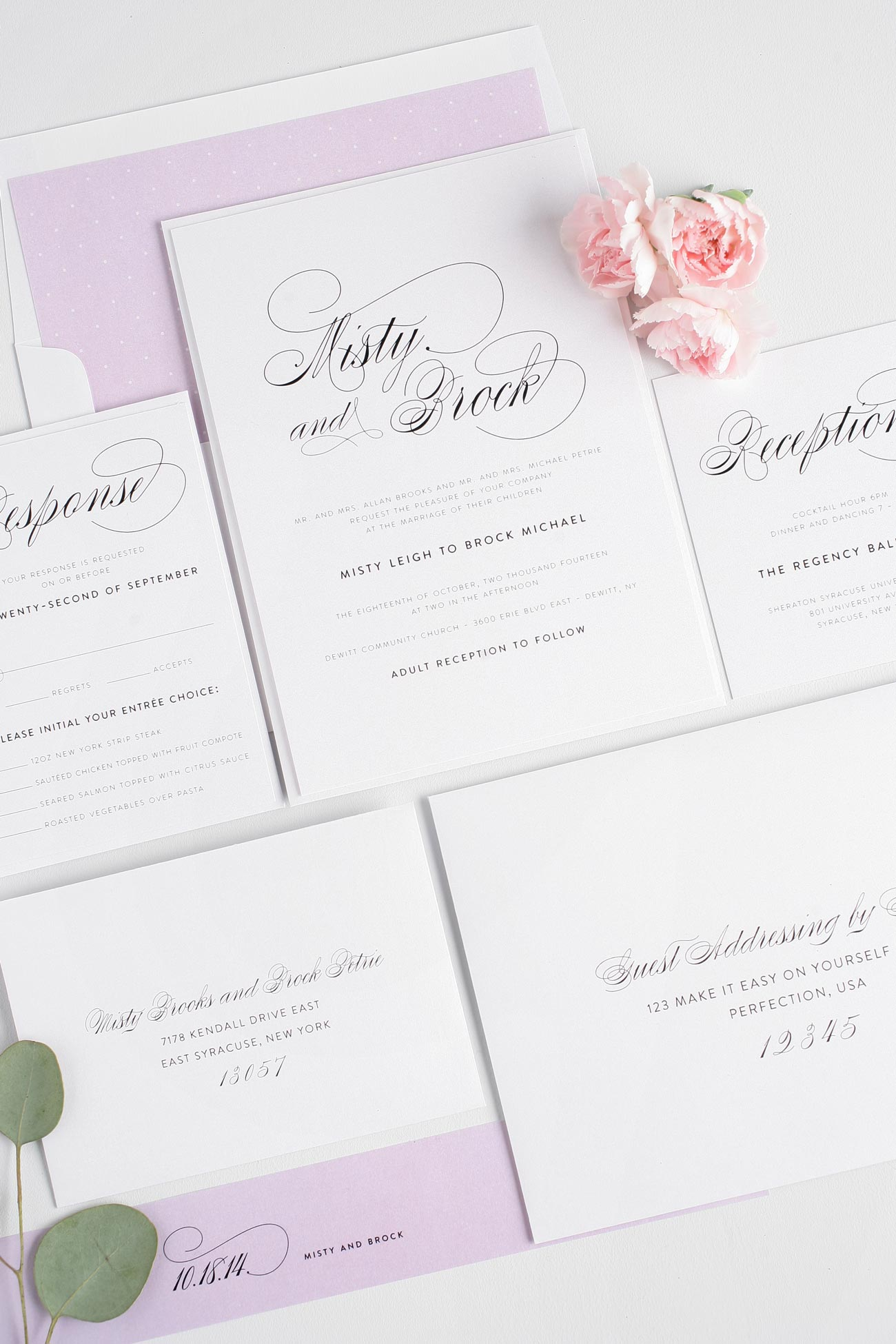 Amethyst wedding invitations with elegant script font