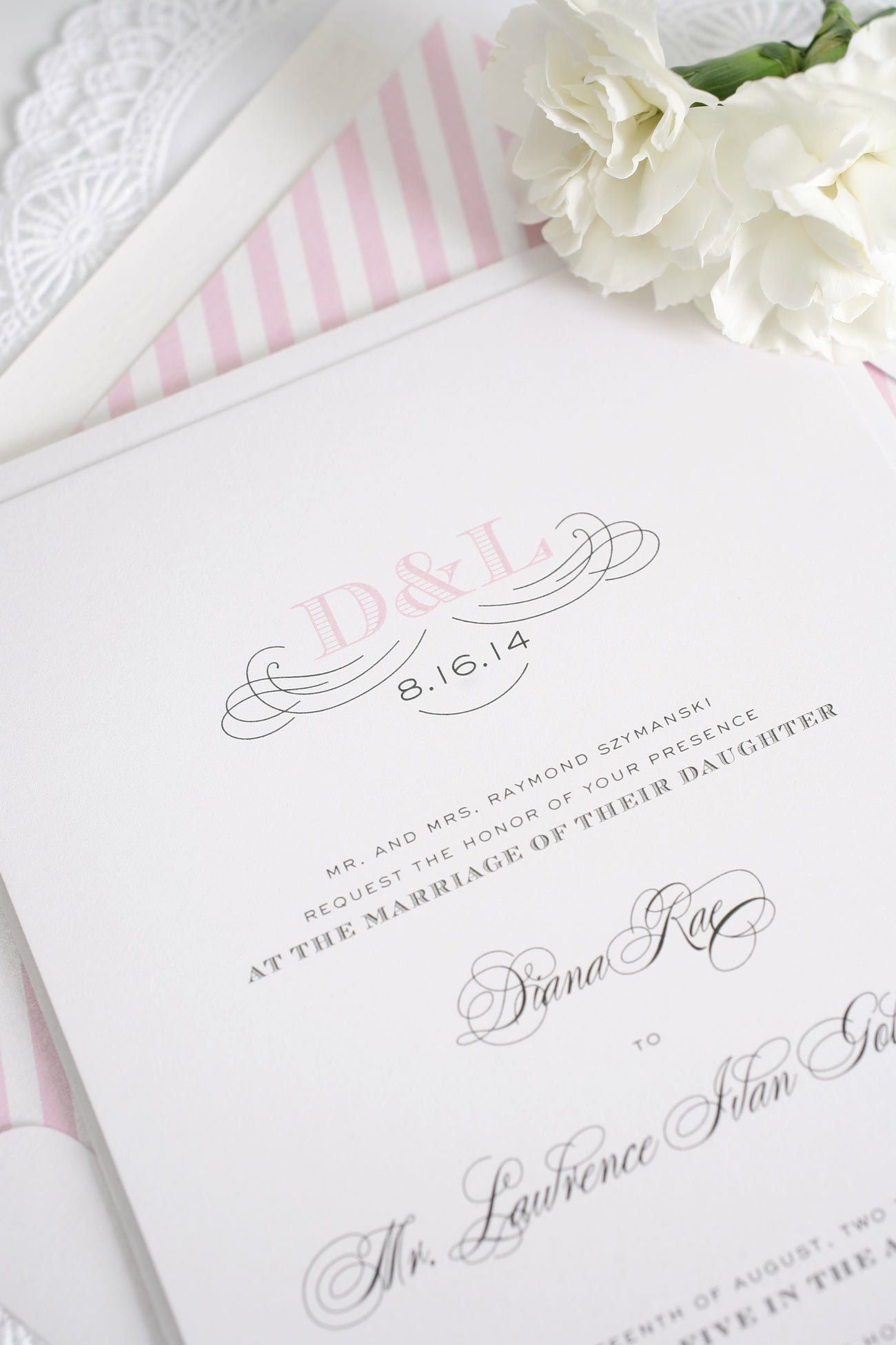 Antique Pink Wedding Invitations with an engravers monogram