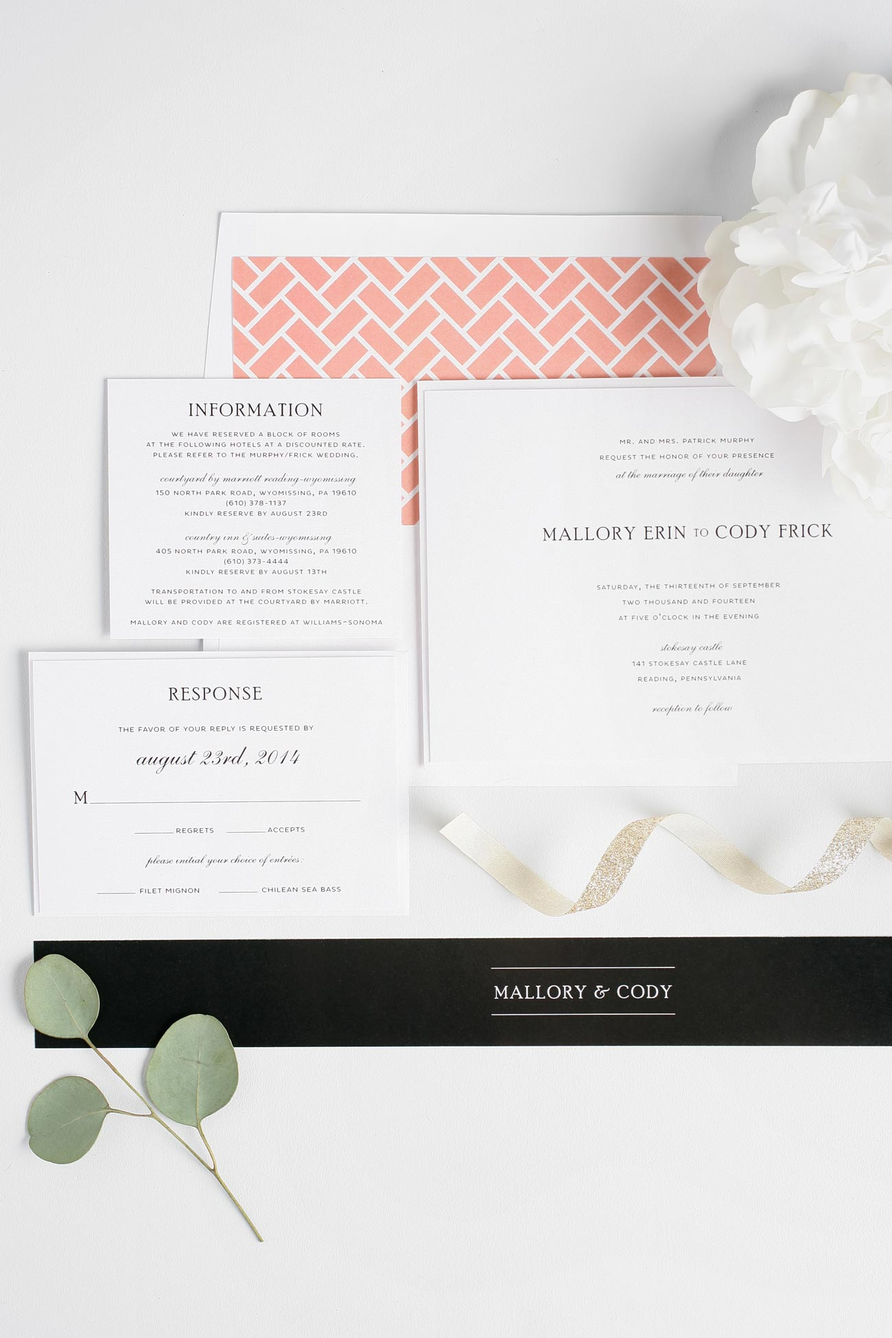Simple black and Coral wedding invitations