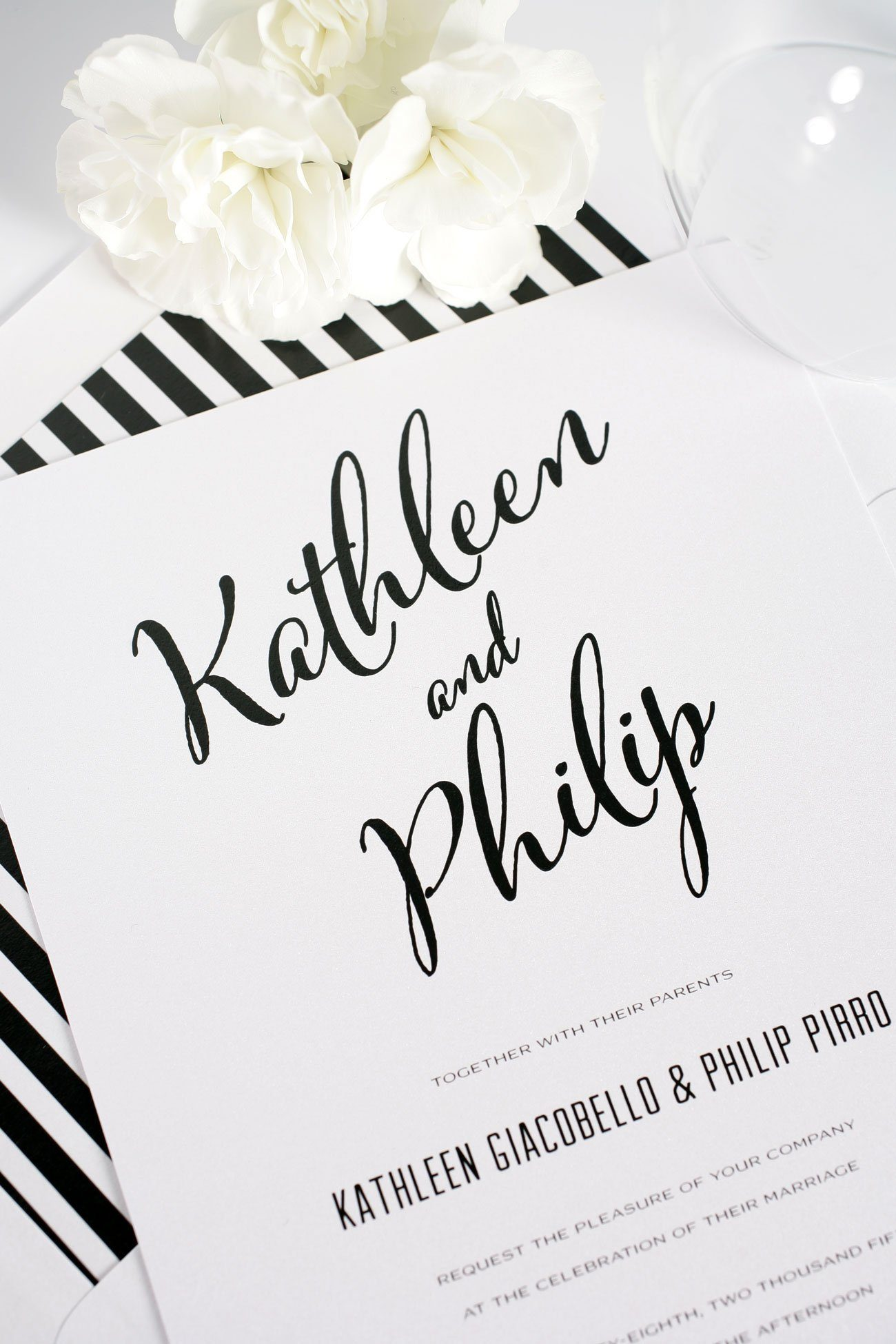 Black and white striped wedding invitations
