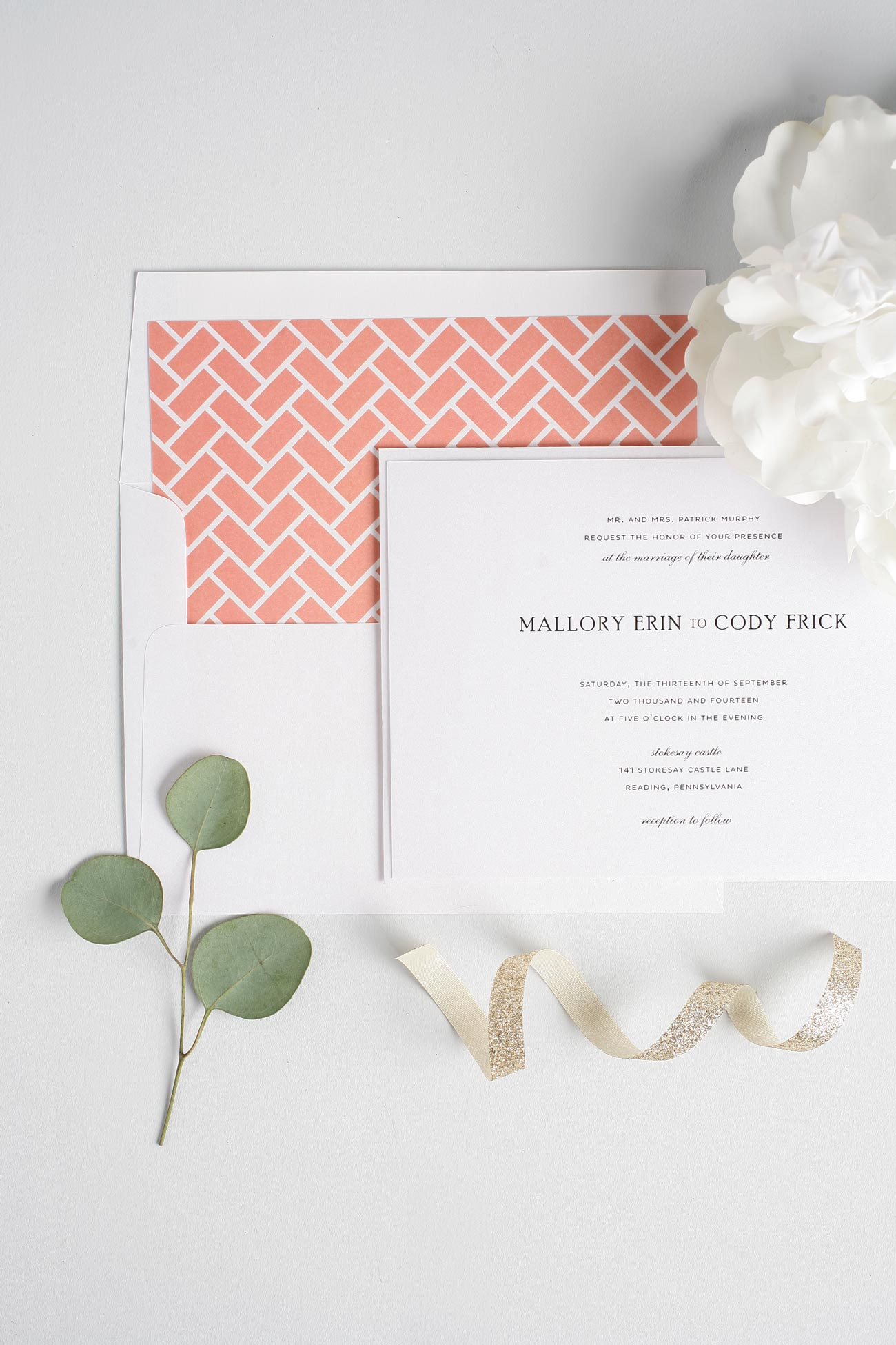 simple and elegant coral wedding invitations with brick pattern