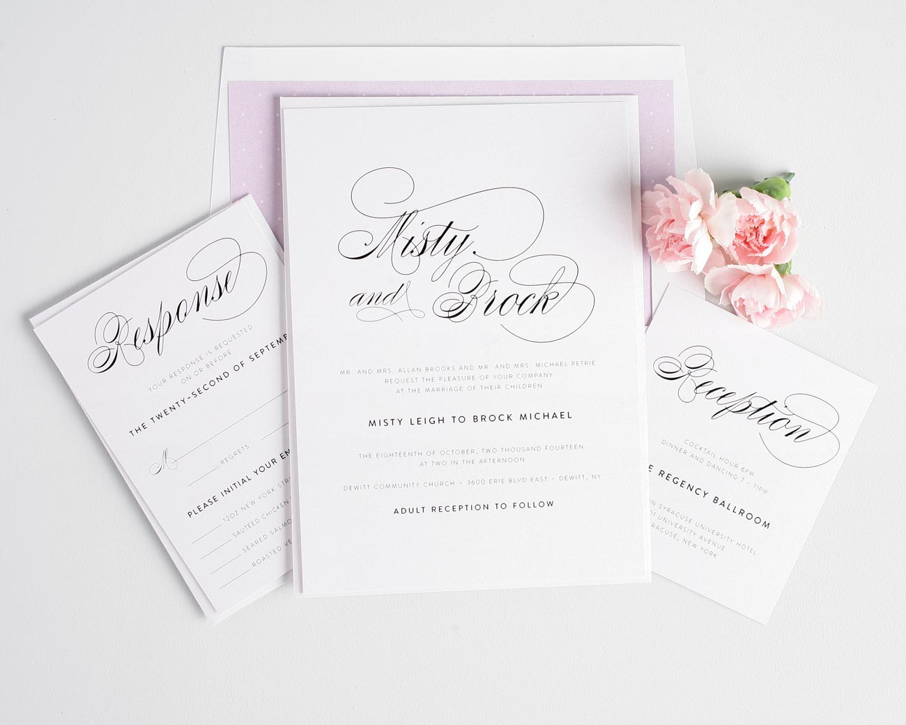 Elegant wedding invitations with a polka dot envelope liner