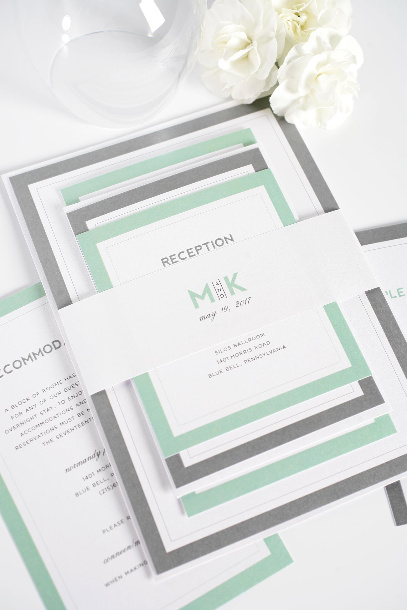 Gray and Green wedding invitations