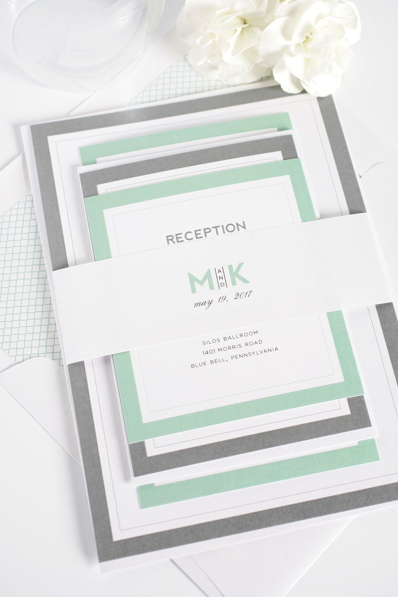 Modern Initials Wedding Invitations in Soft Jade – Wedding Invitations
