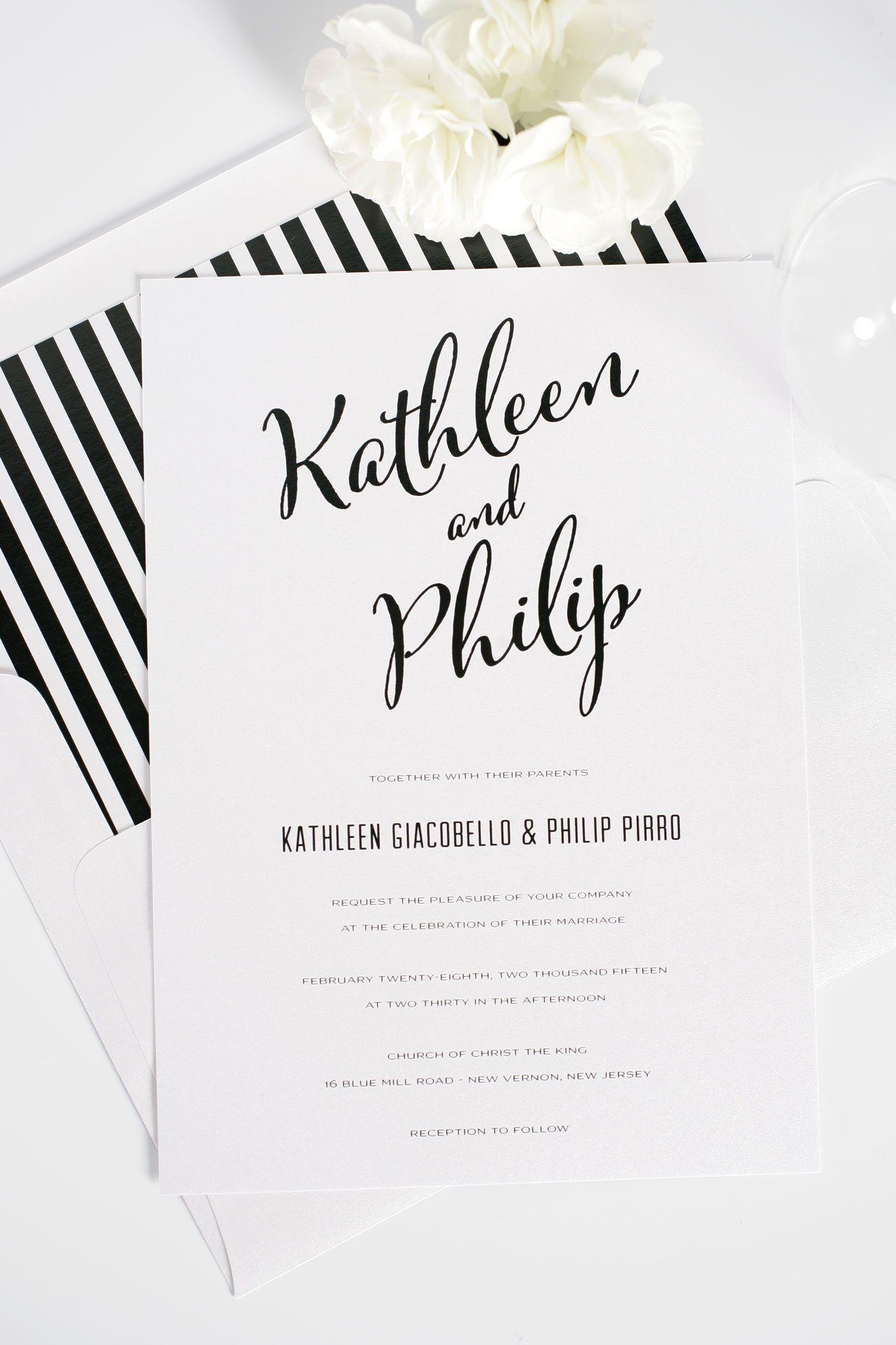 Modern Black And White Striped Wedding Invitations ...