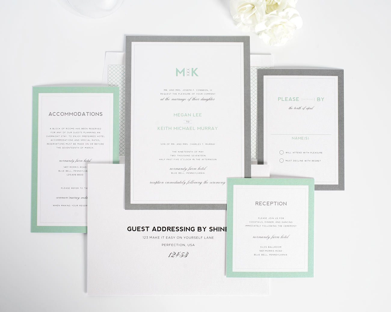 Modern gray wedding invitations with monogram