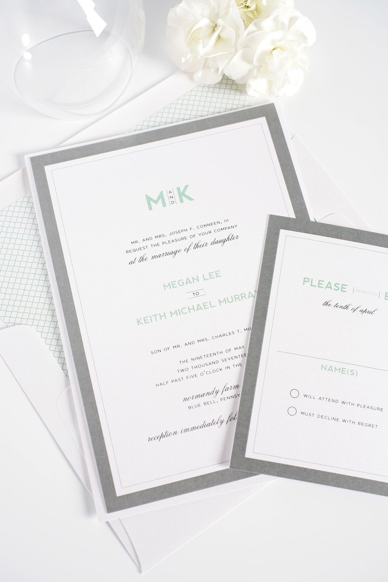 Modern Gray and Mint Wedding Invitations