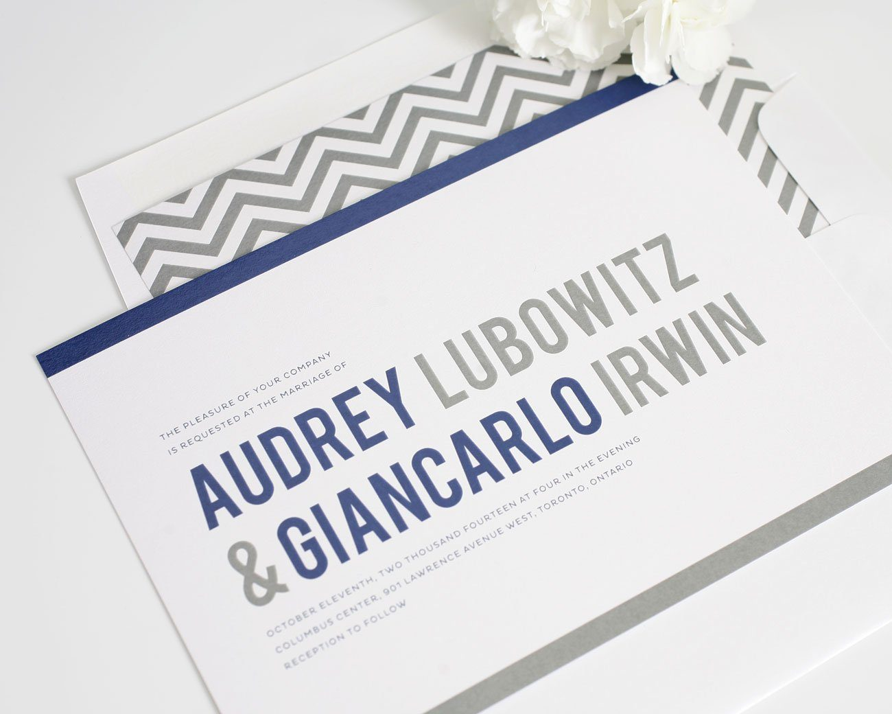 Modern navy and gray wedding invitations
