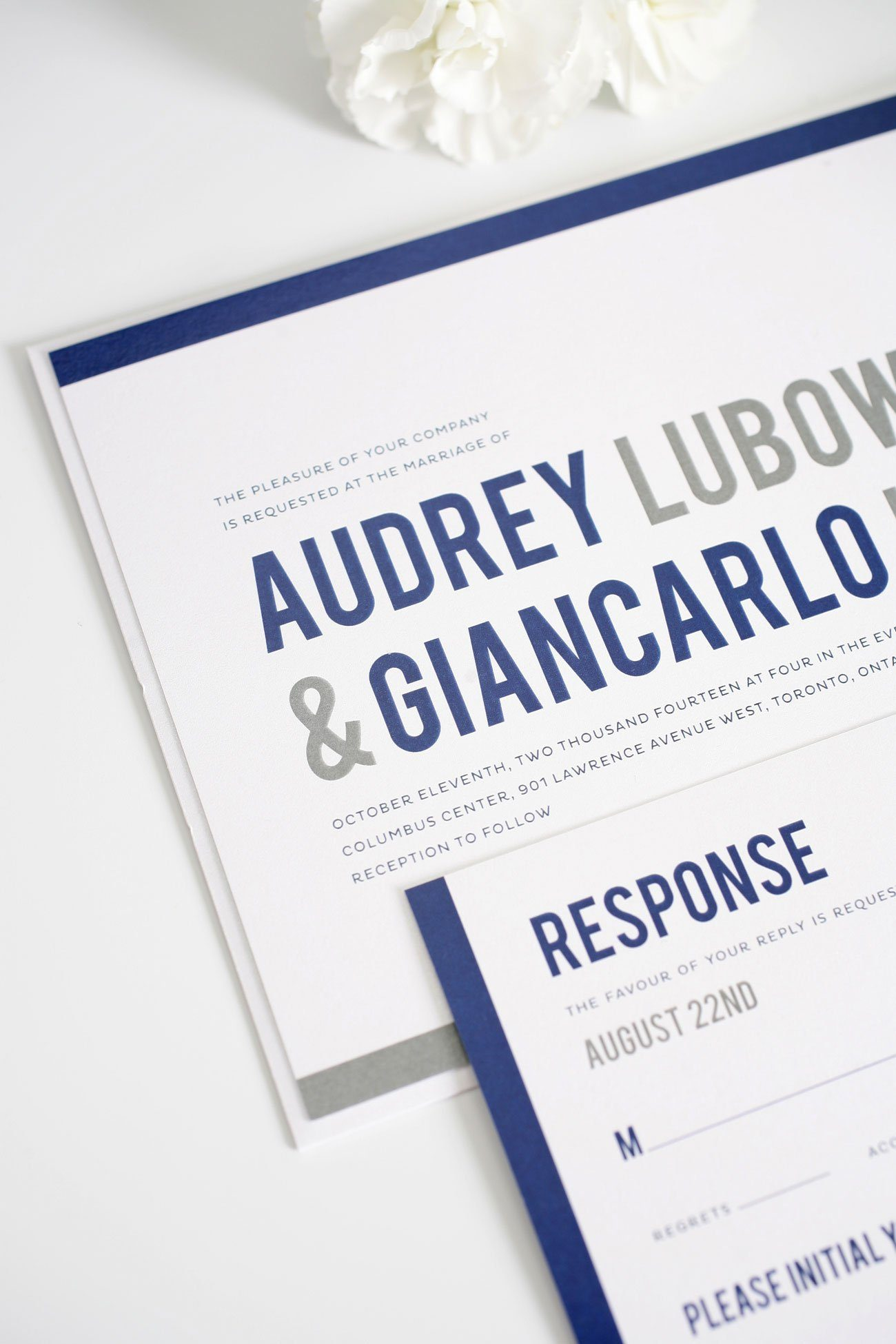 Modern navy wedding invitations