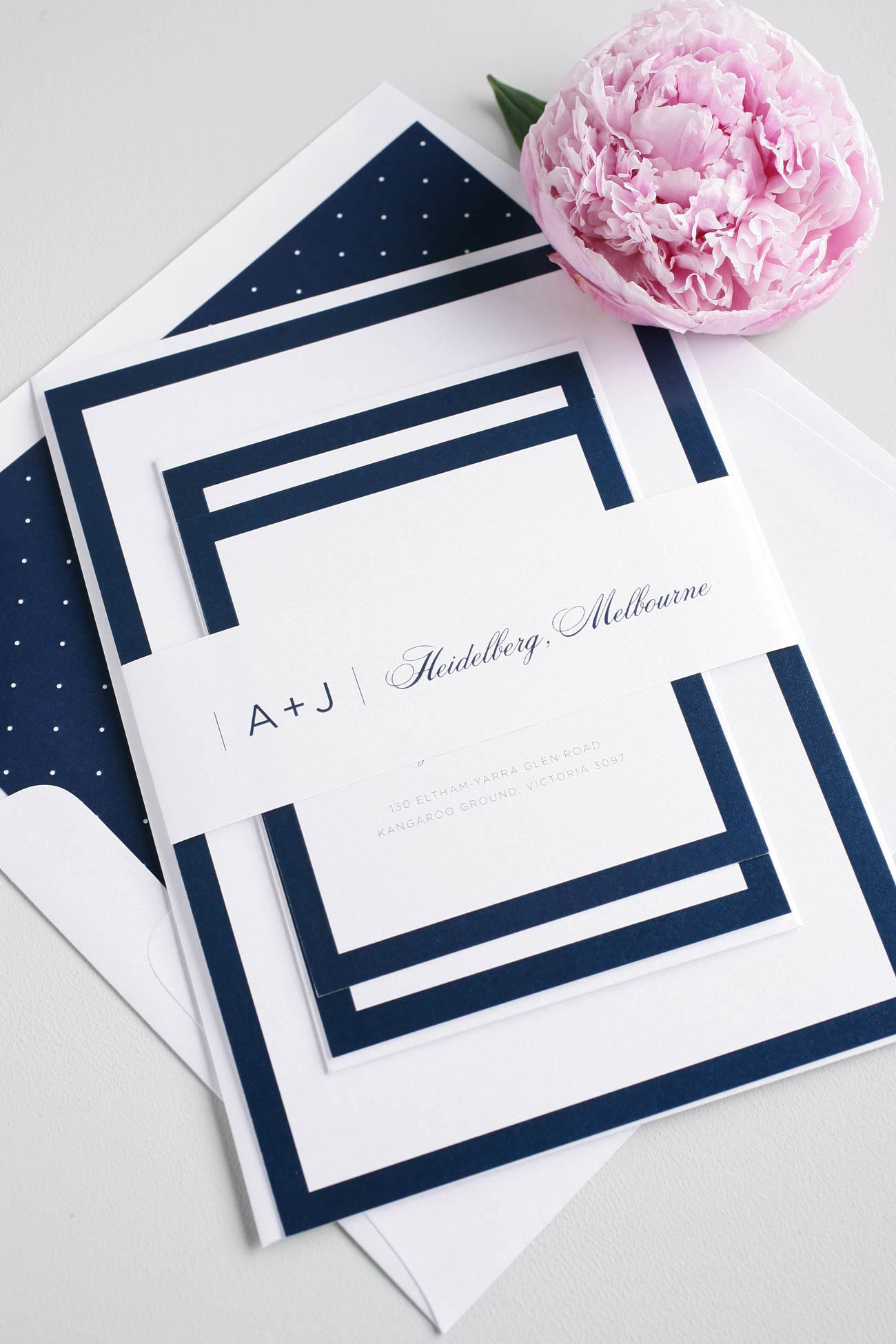 Modern wedding invitations with borders and polka dots