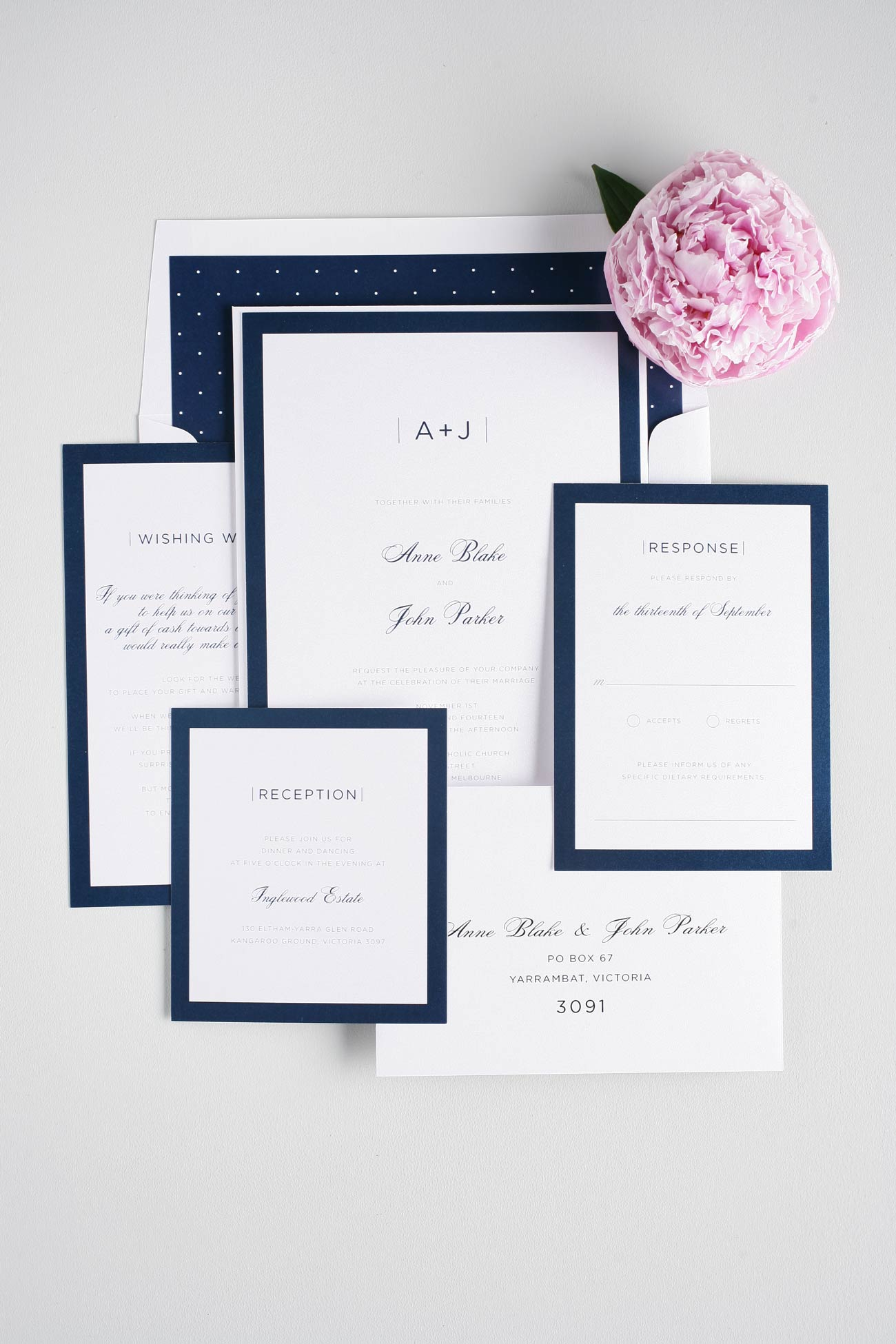 Sophisticated Navy Wedding Invites Wedding Invitations