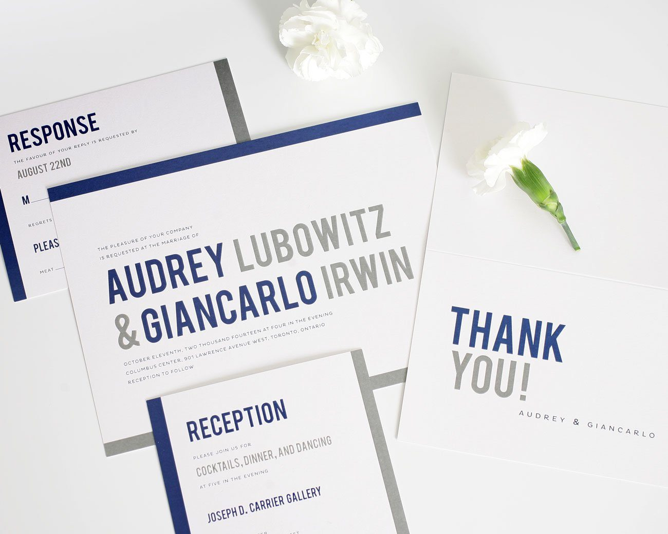 Navy contemporary wedding invitations with bold type