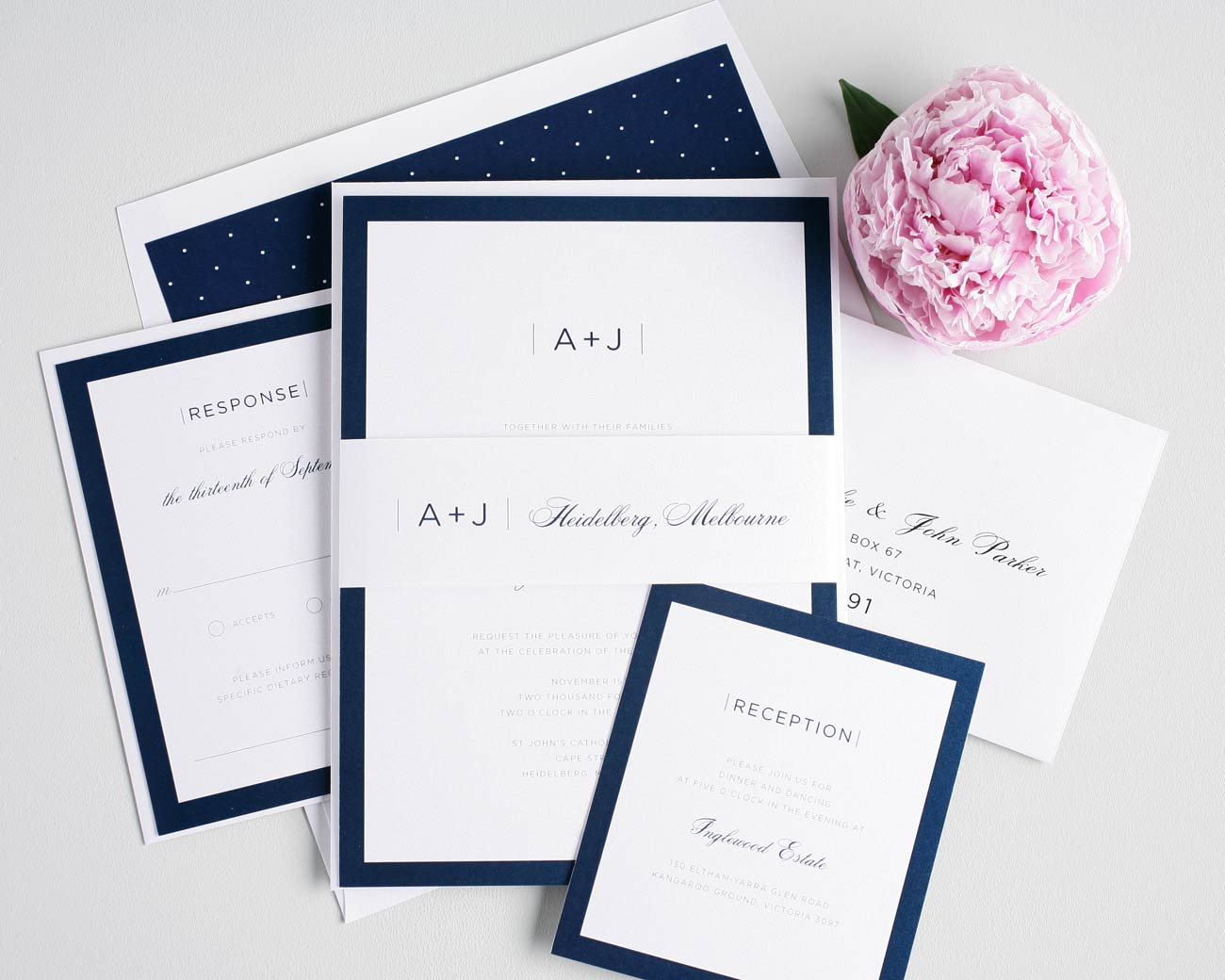 Navy blue polka dot wedding invitations
