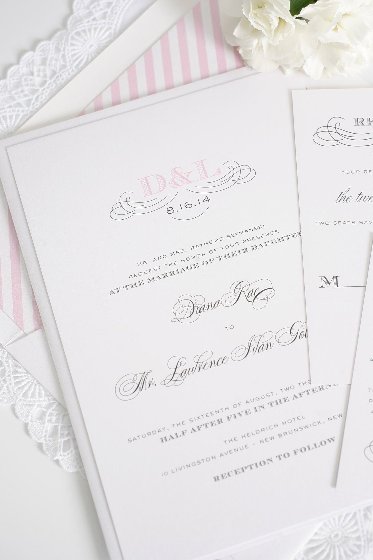 Pink striped wedding invitations with monogram