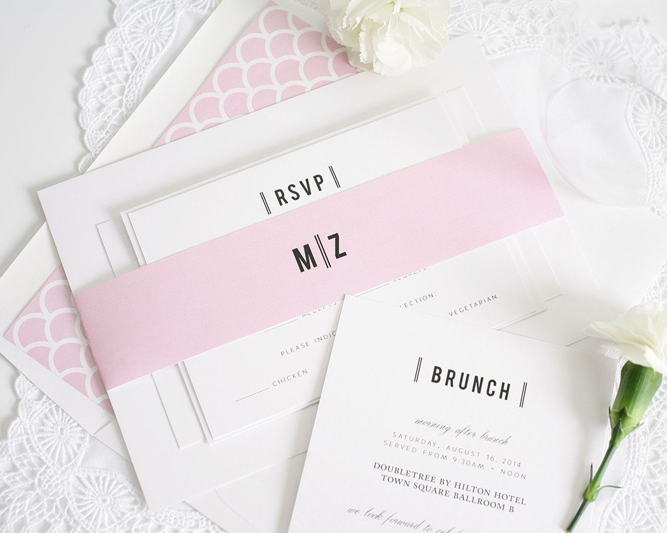 Blossom pink wedding invitations with monogram