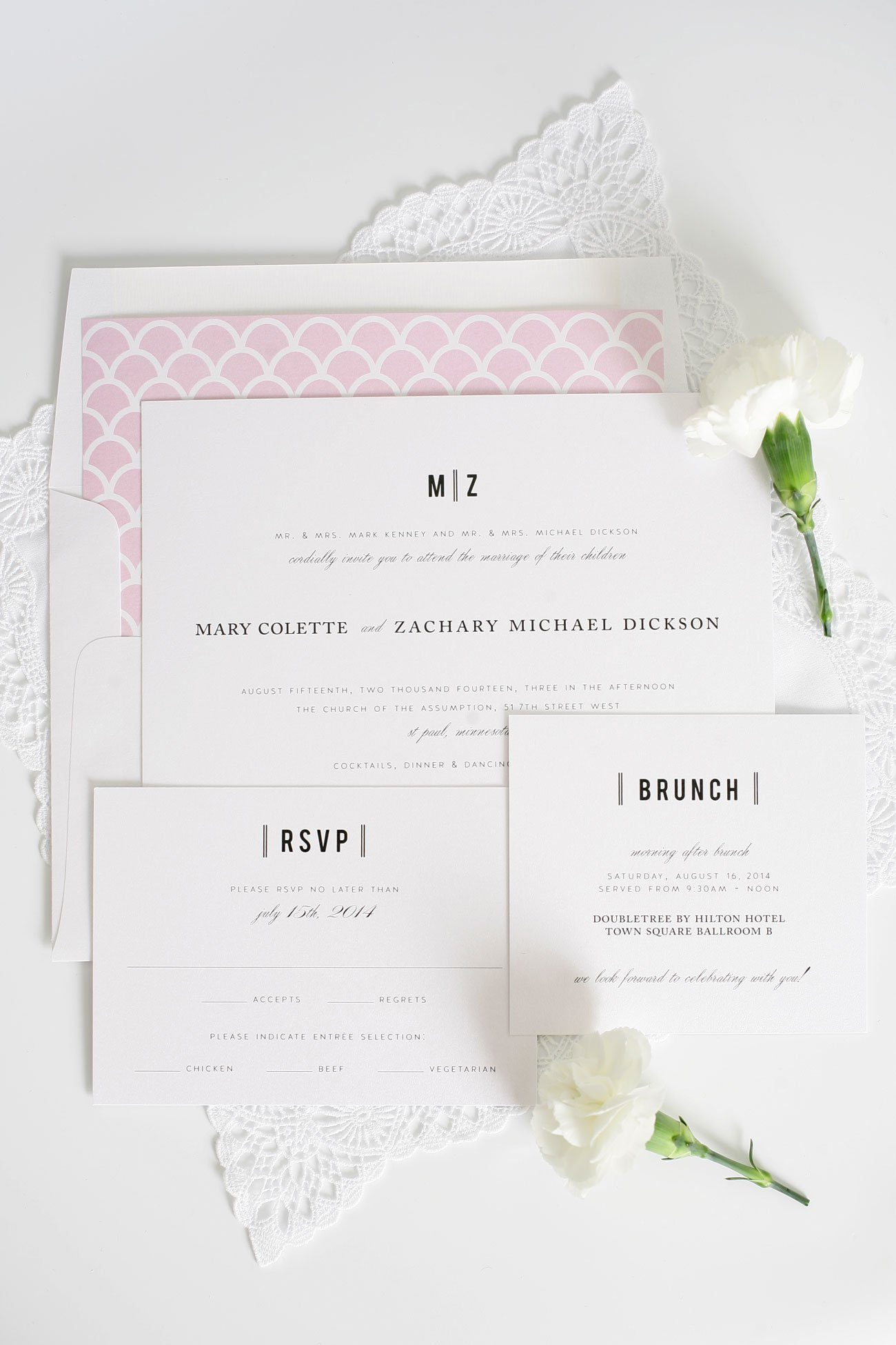 Scallop wedding invitations in pink