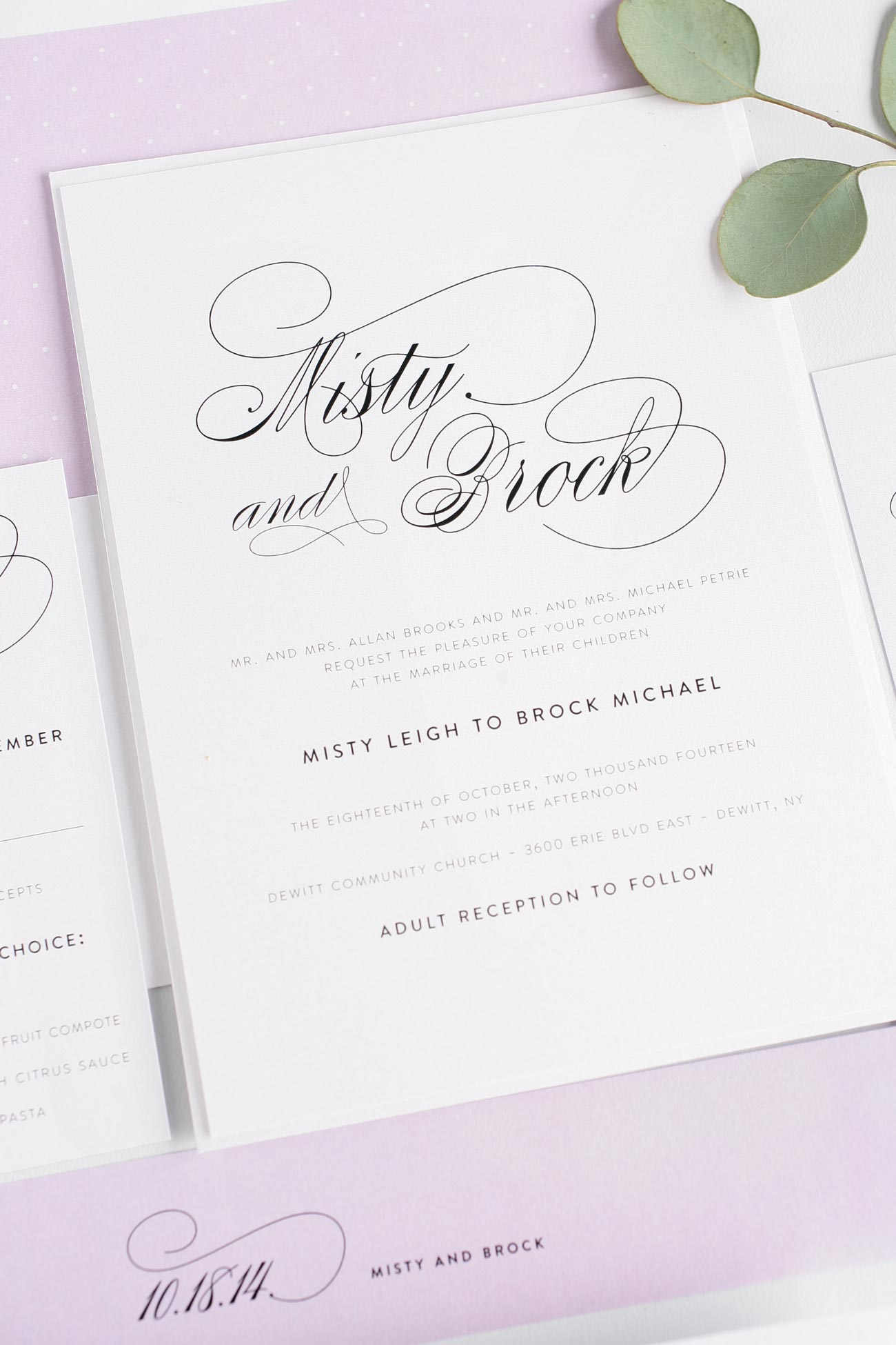 Gorgeous simple and elegant wedding invitations with purple accents