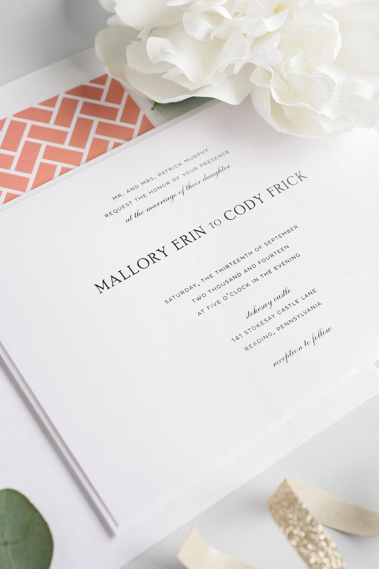 coral wedding invitations simple and elegant wedding invitations in coral - Simple Elegant Wedding Invitations