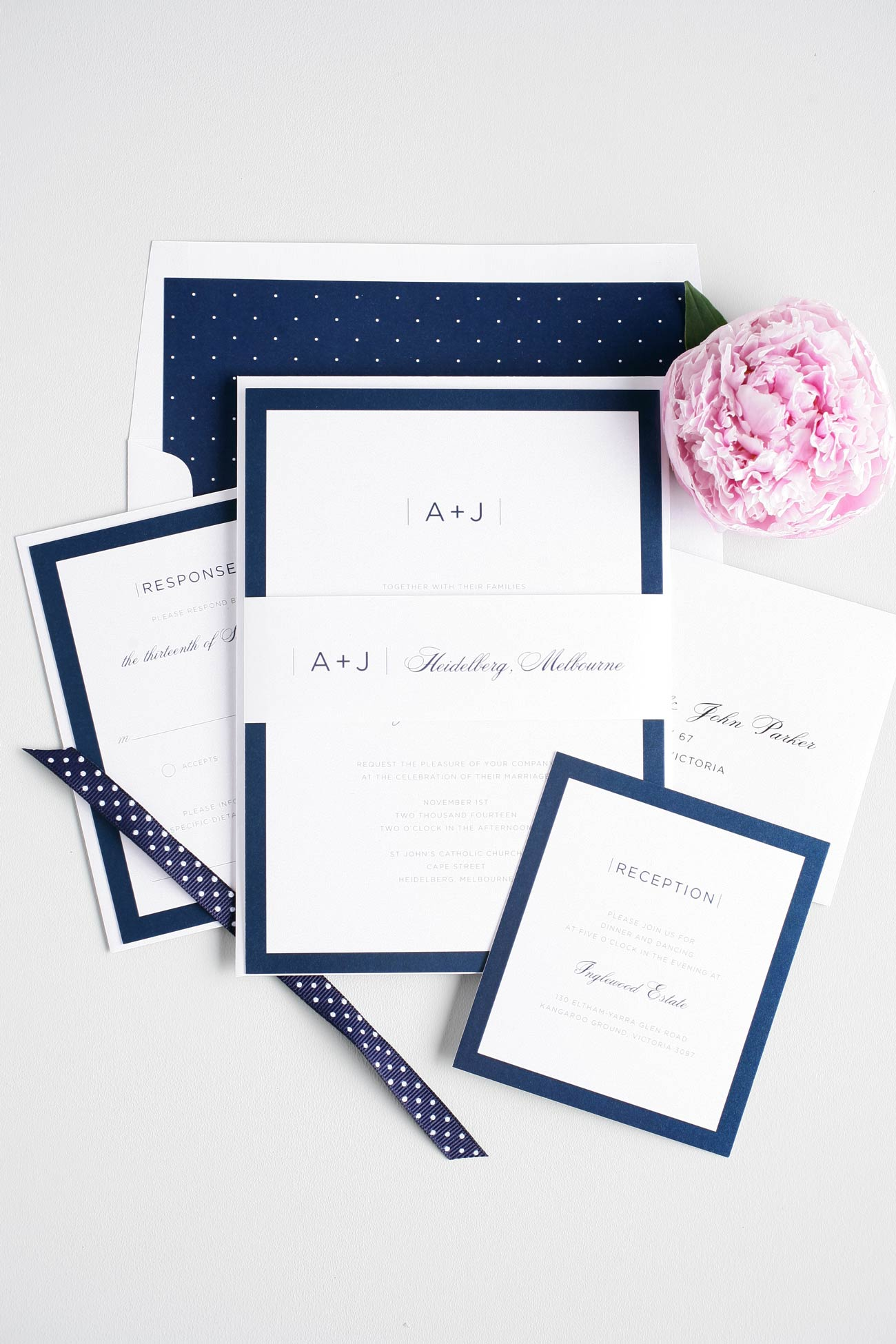Elegant and Sophisticated Navy wedding invitations with polka dots
