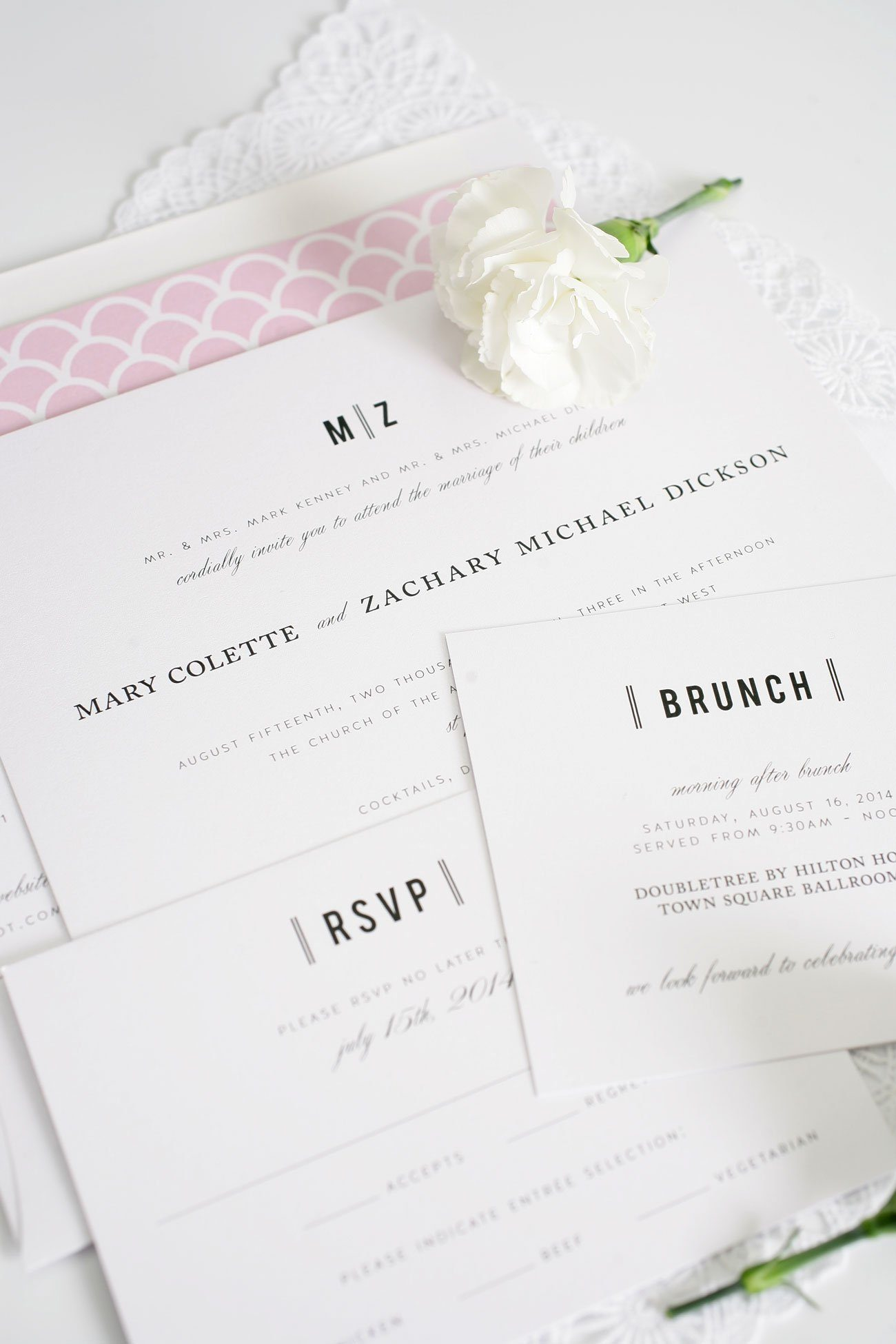 Urban vintage wedding invitations in pink