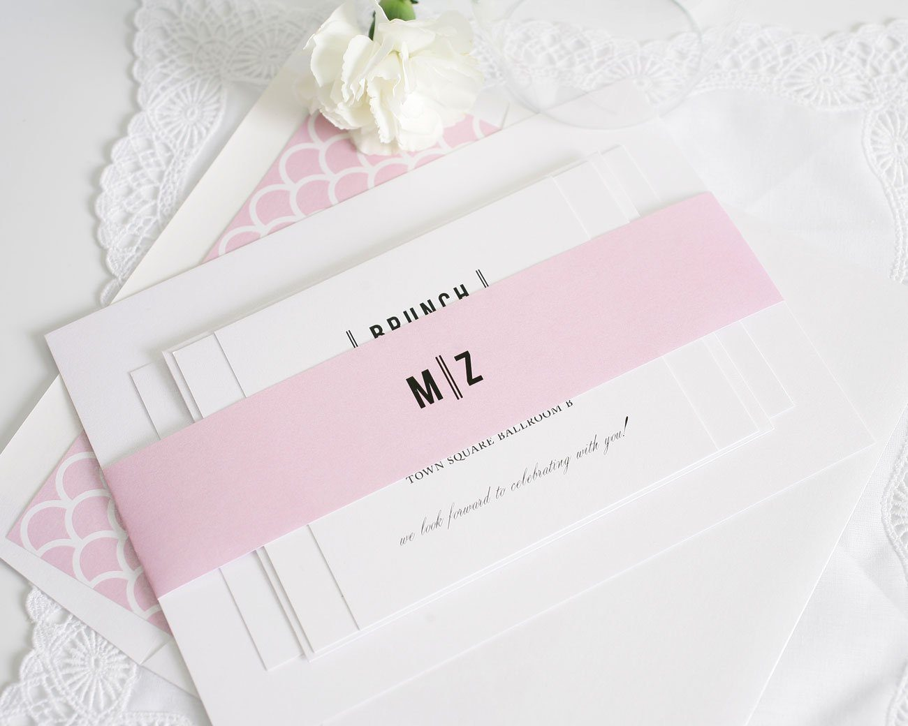 Urban wedding invitations with pink accents