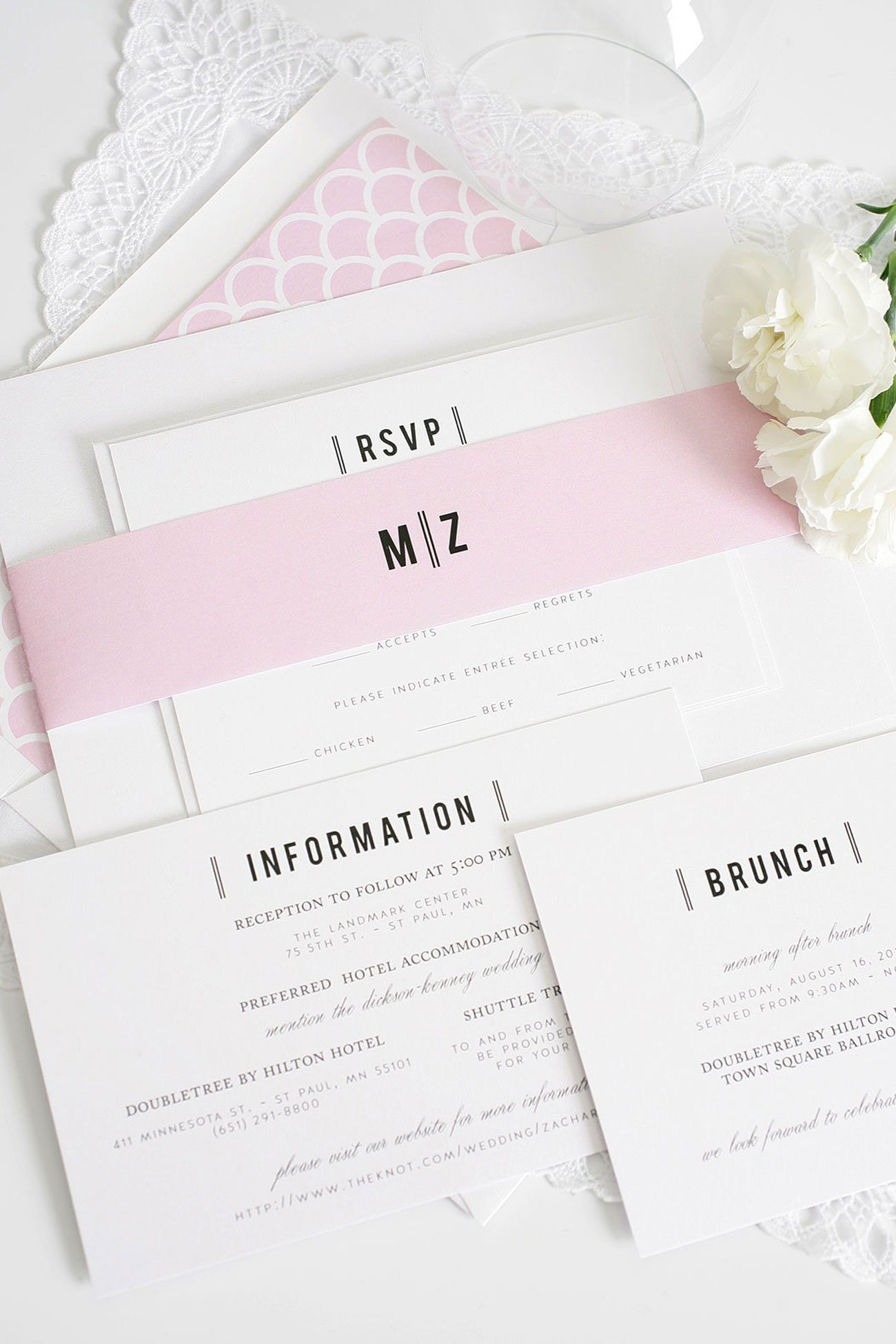 urban wedding invitations in pink blossom