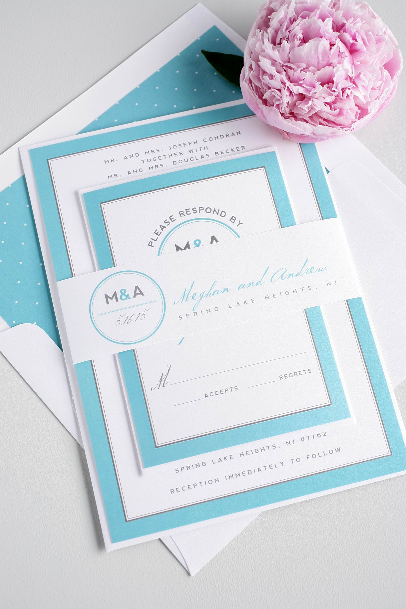Blue monogram wedding invitations