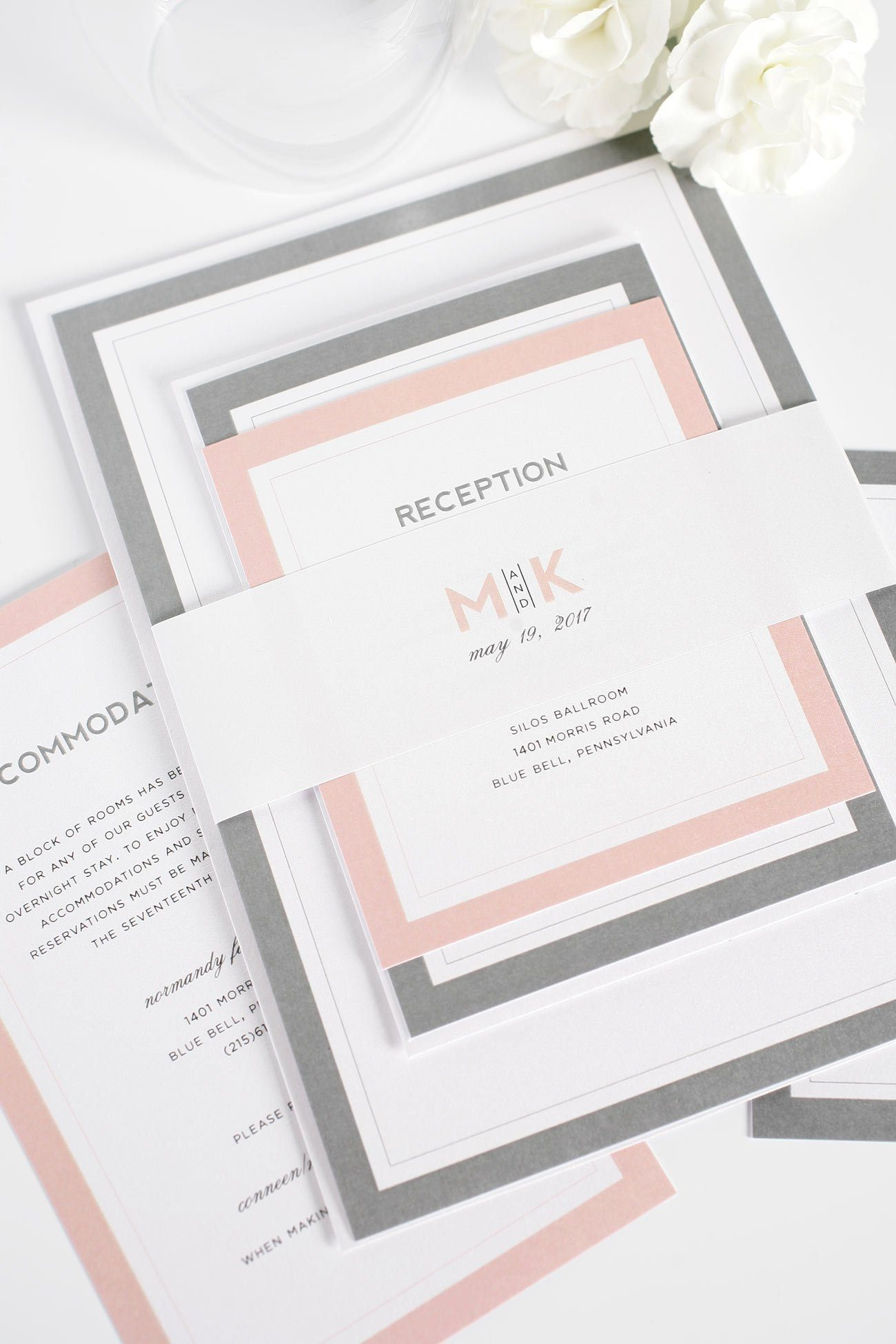 Blush and Gray Wedding Invitations with borders