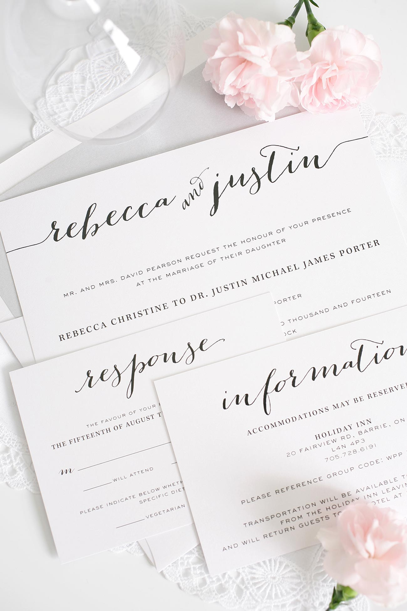 calligraphy wedding invitations in silver