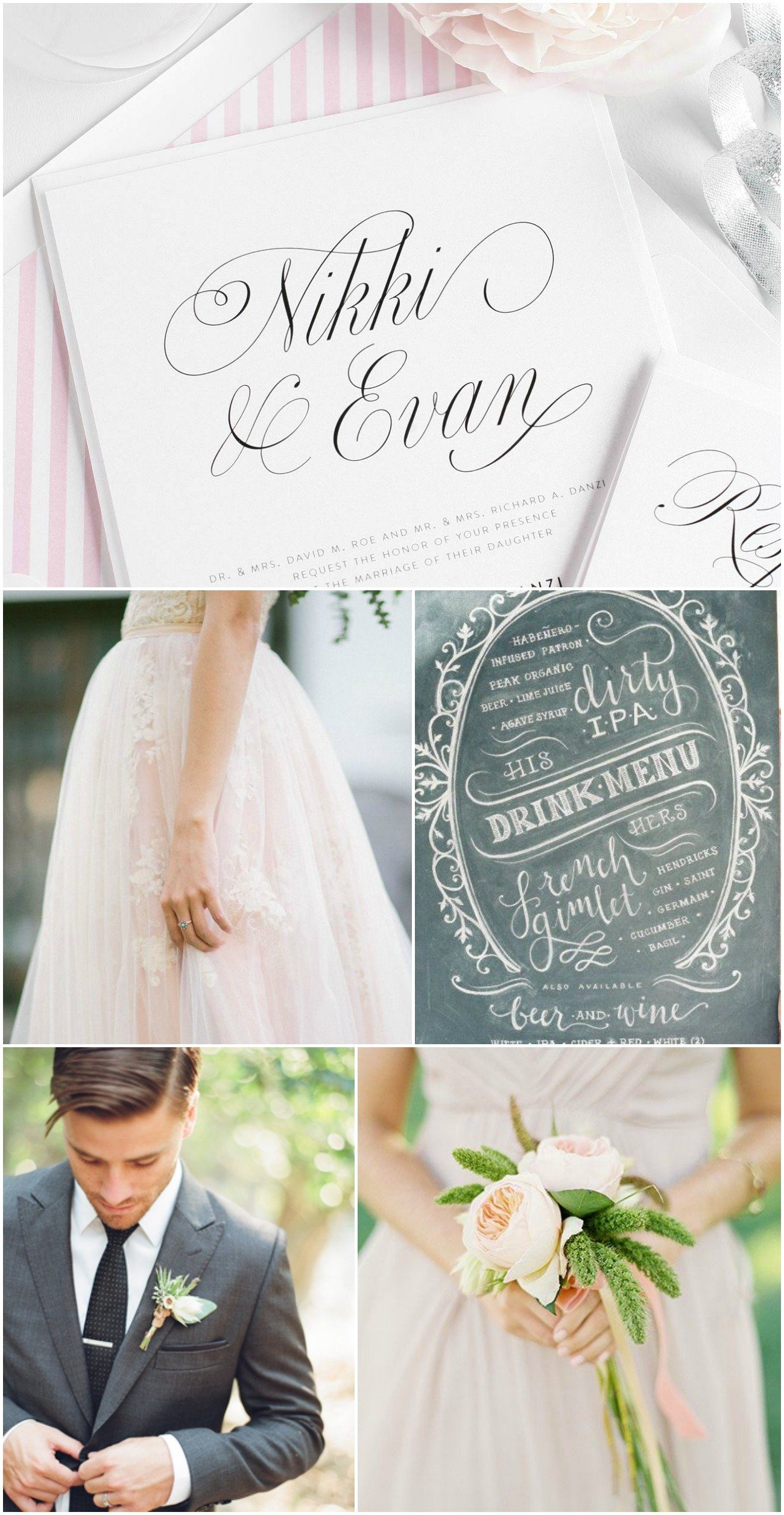 Charcoal gray and Blossom pink wedding inspiration
