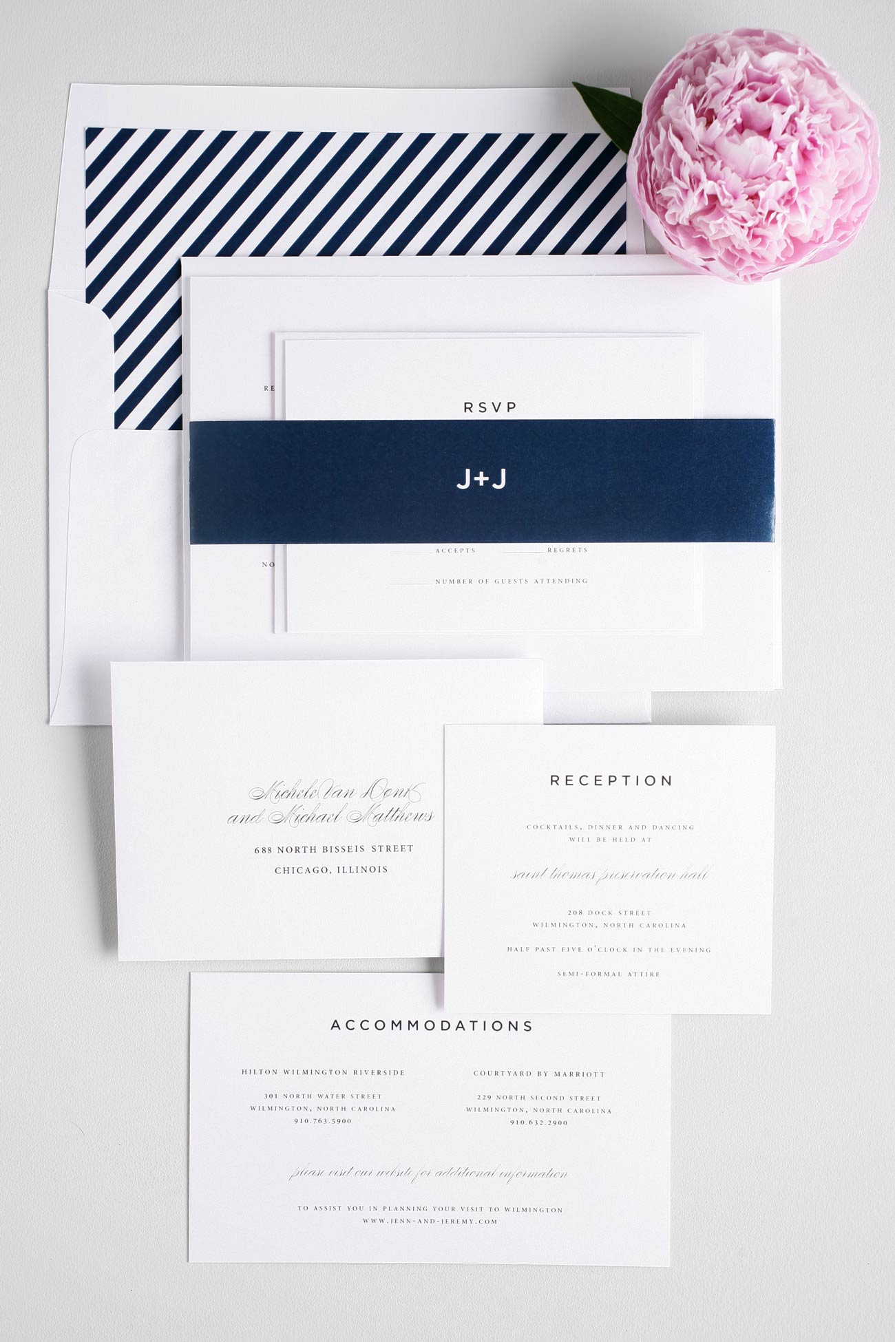 Classic navy striped wedding invitations