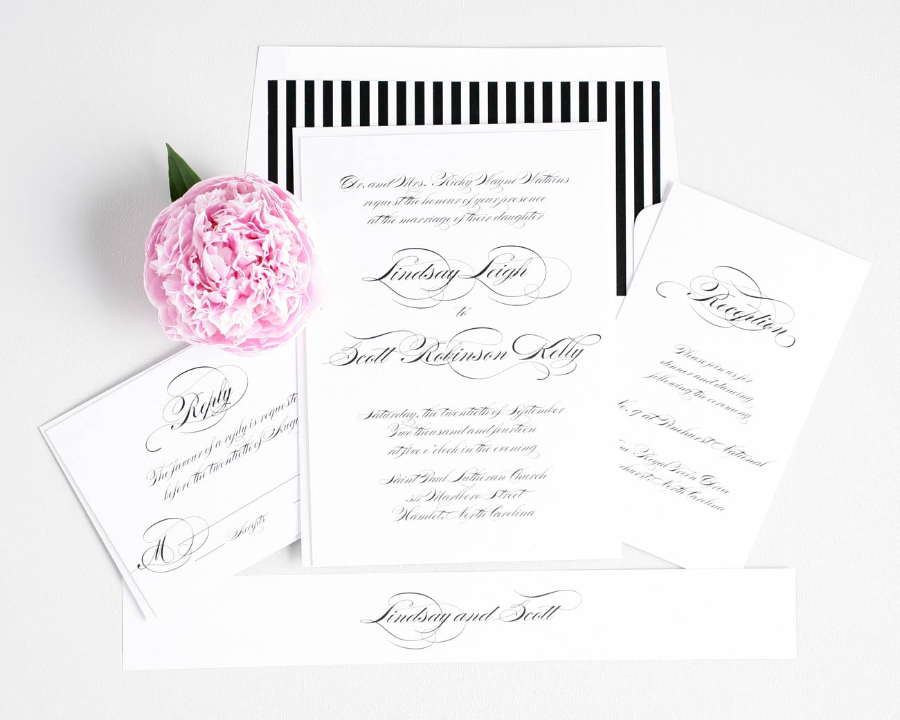 Elegant black and white wedding invitations