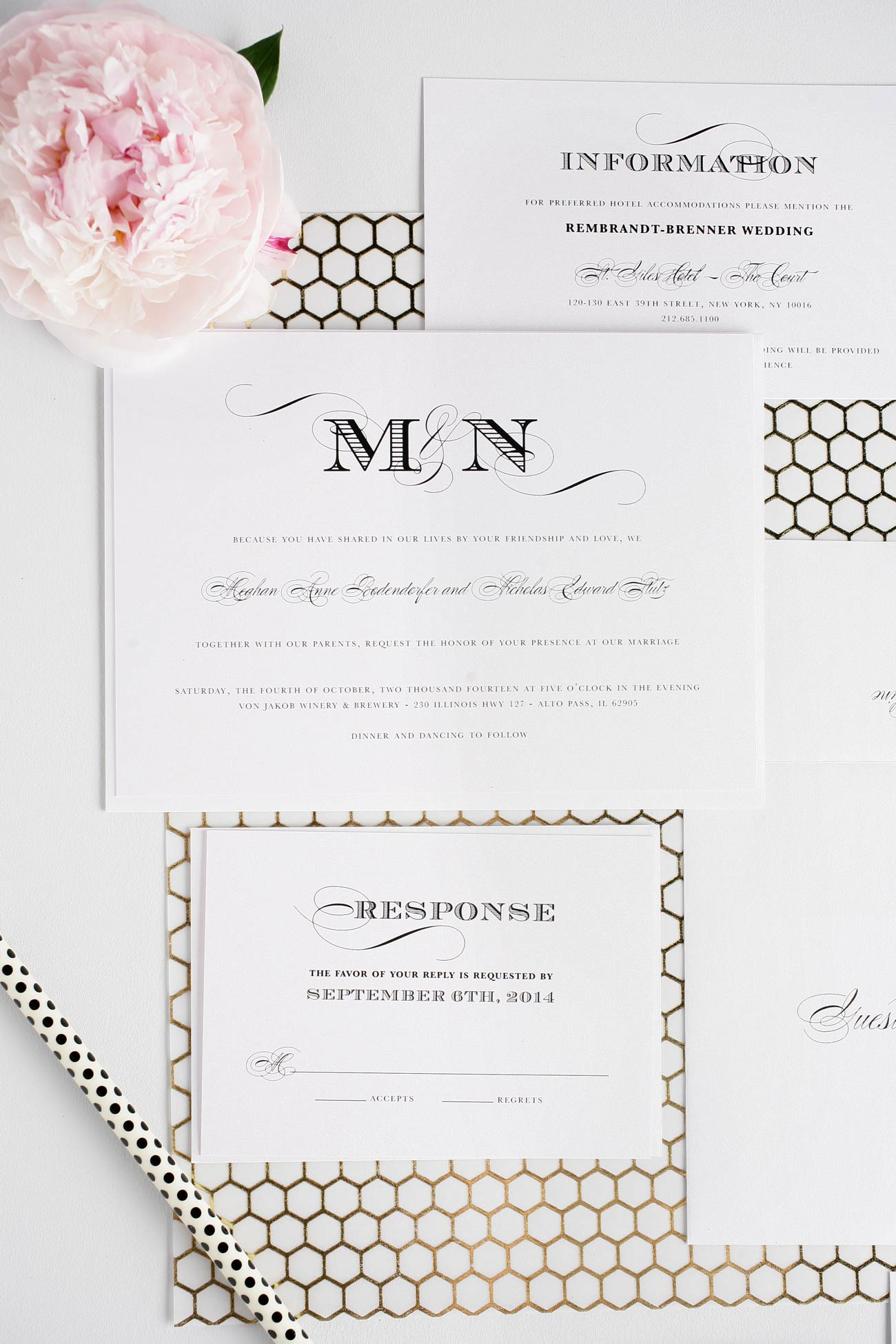 Ornate Elegant Wedding Invitations in Black and White Wedding