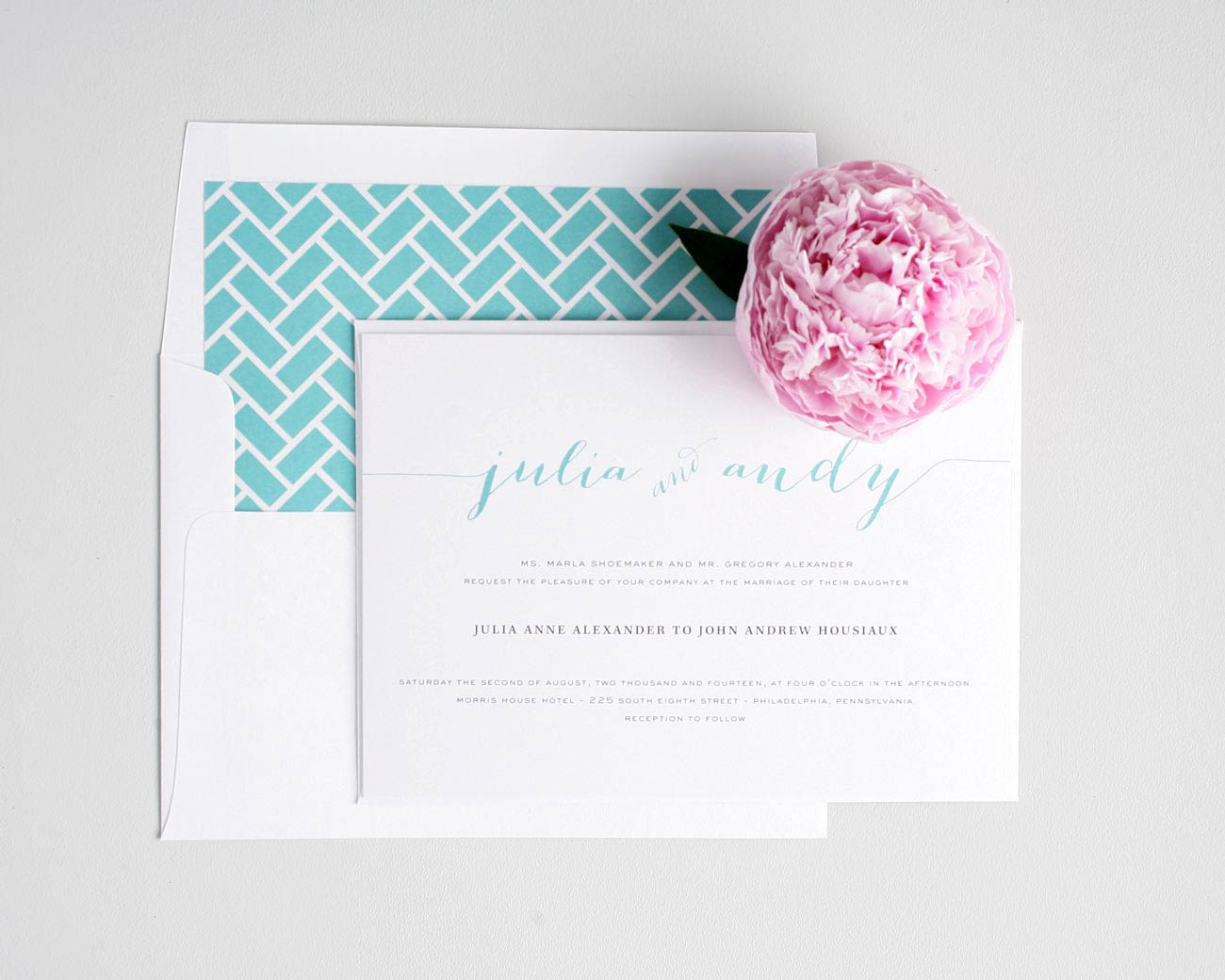 Script wedding invitations in aqua