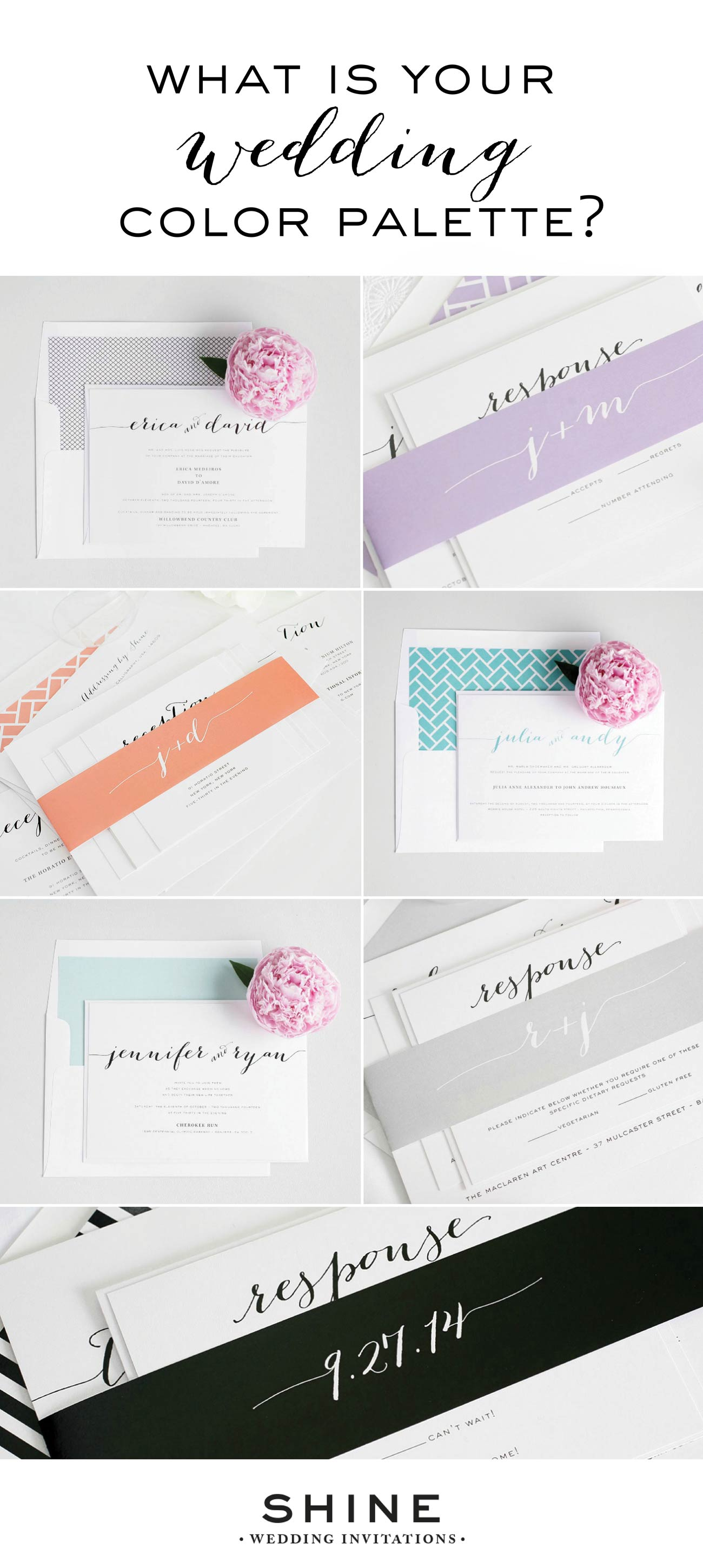 Flowing Script Color Variations, Custom Color Wedding Invitations