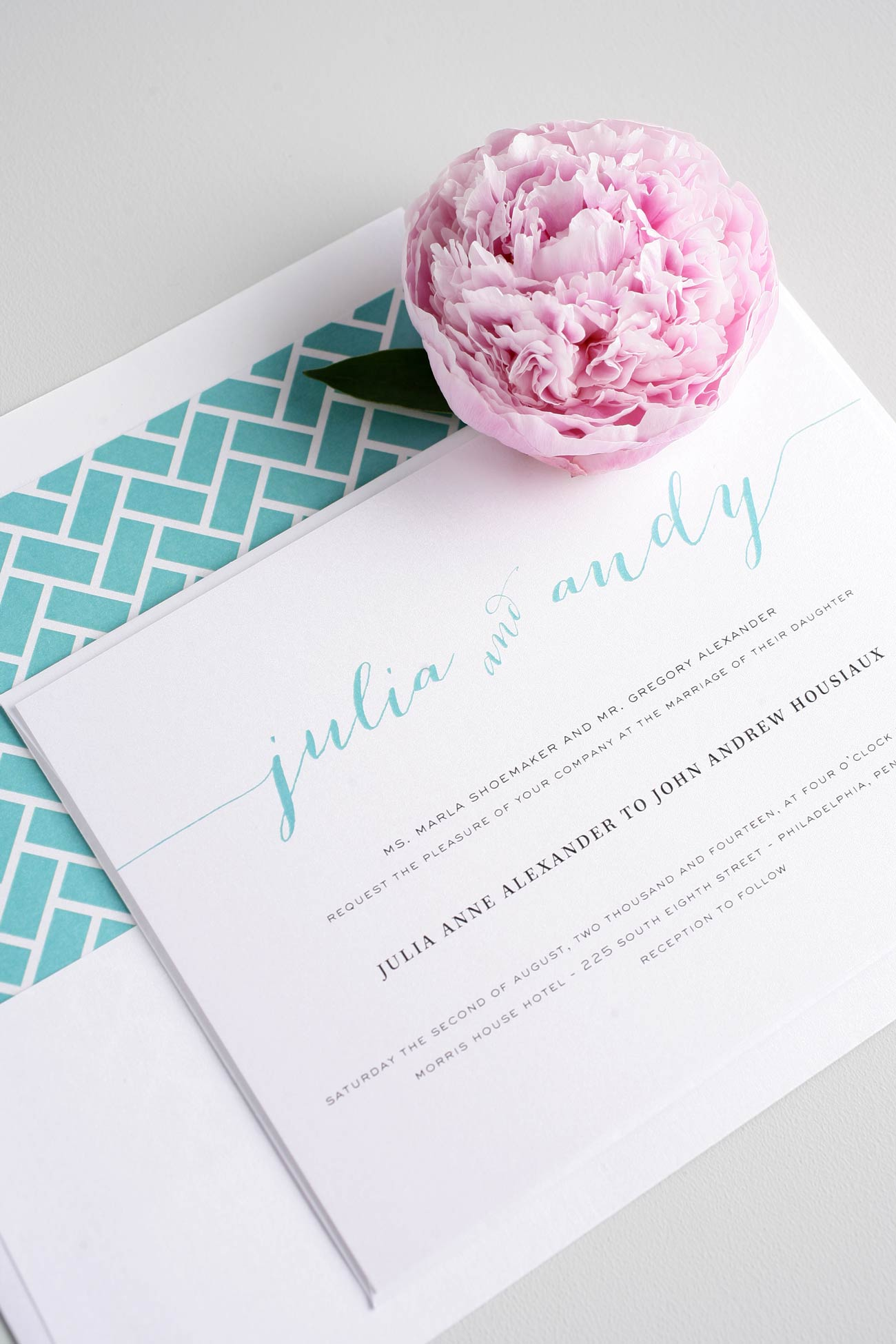 Chic Calligraphy wedding invitations in aqua