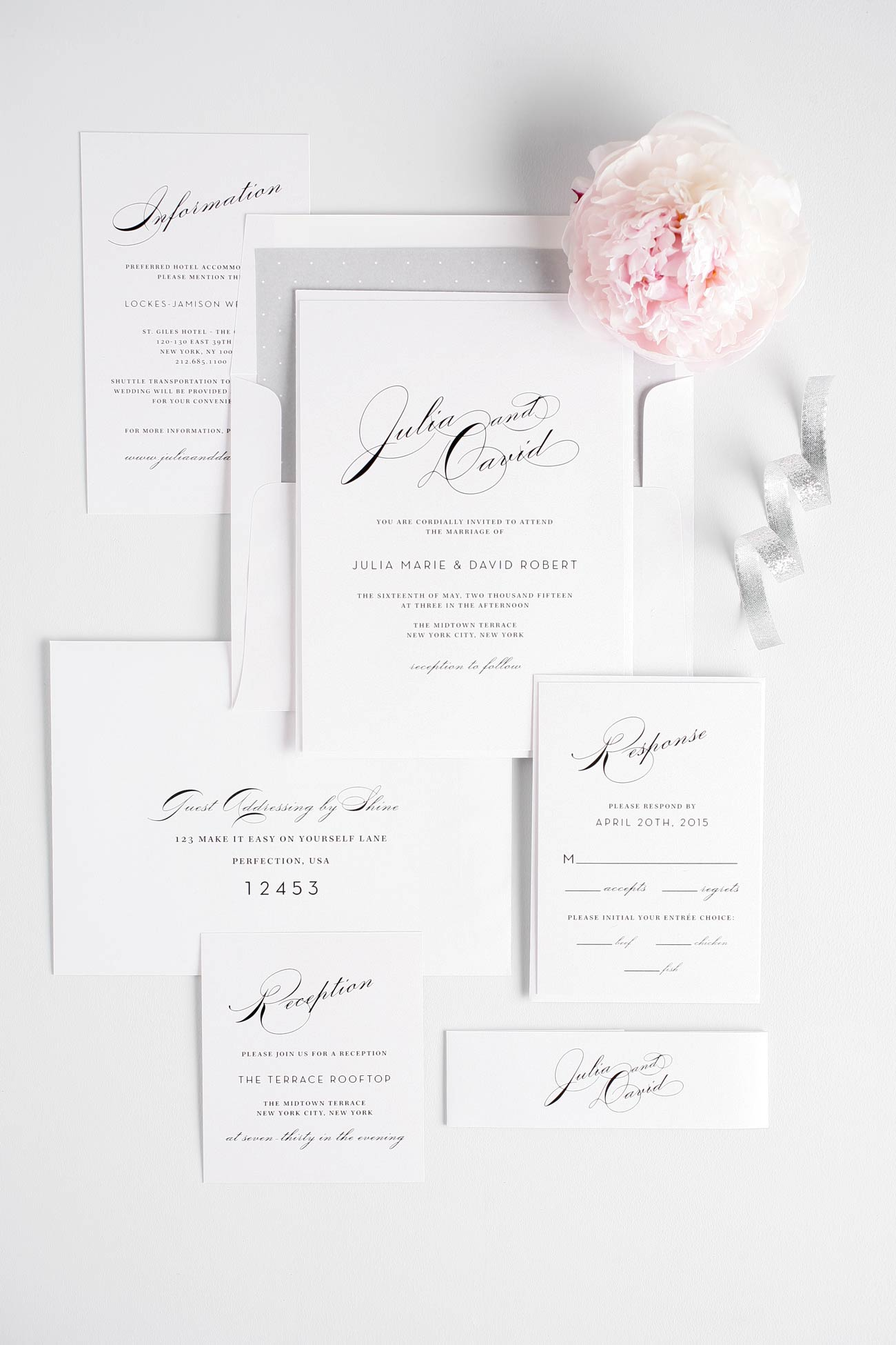 Glam wedding invitations in silver with vintage typography
