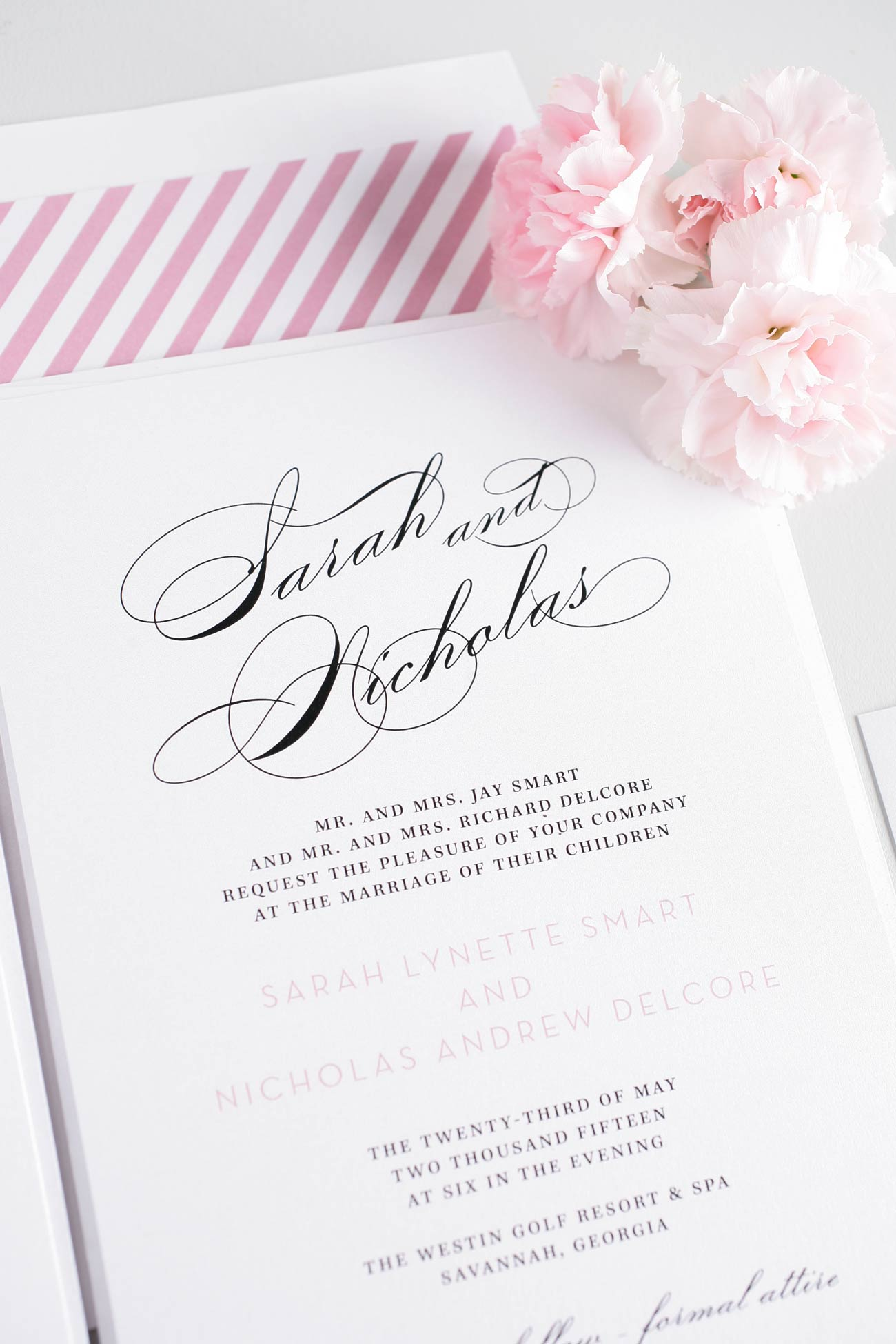 Glamorous Wedding Invitations in blossom light pink