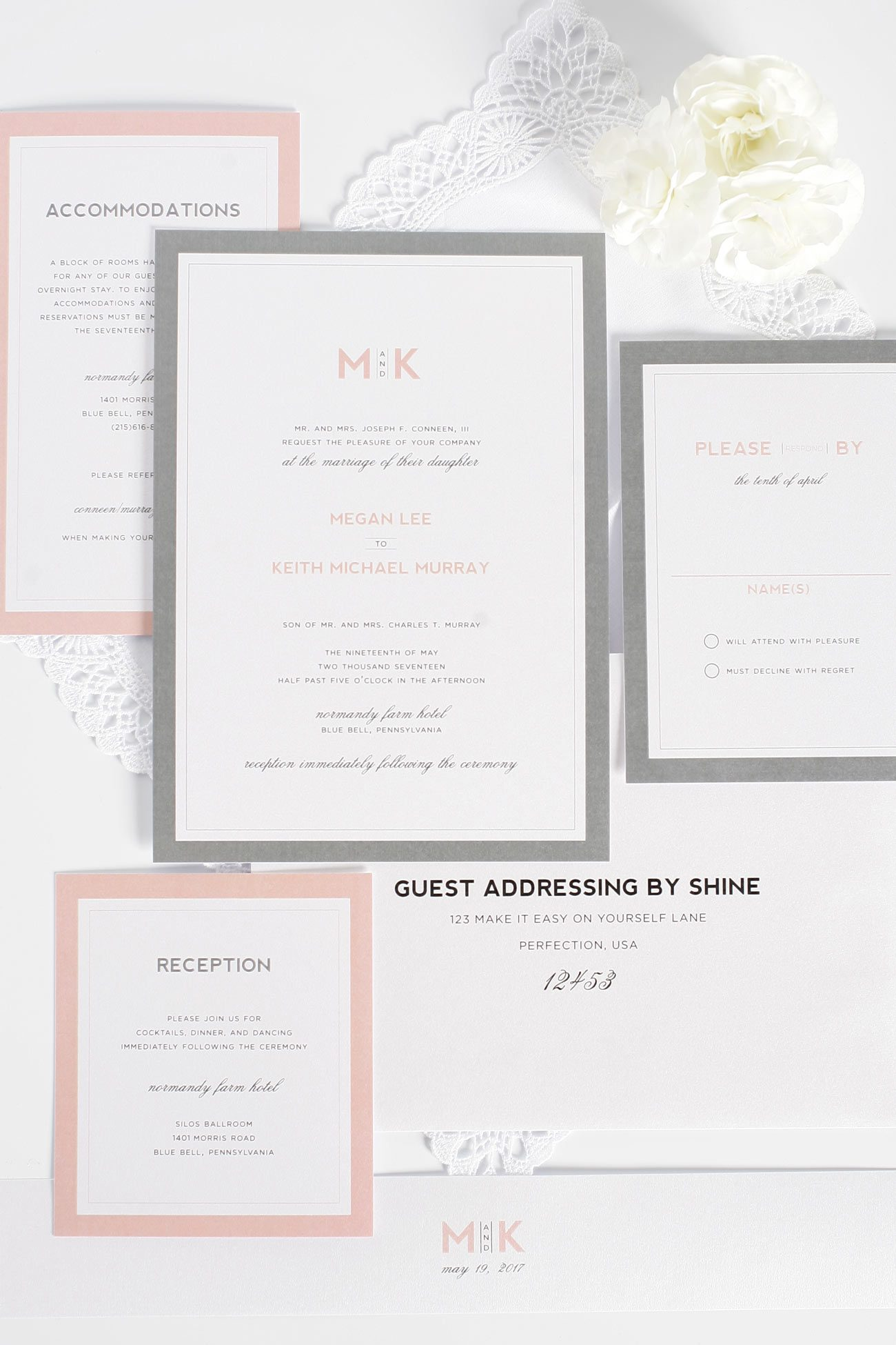 Gray and Blush Pink Wedding Invitations with a Monogram