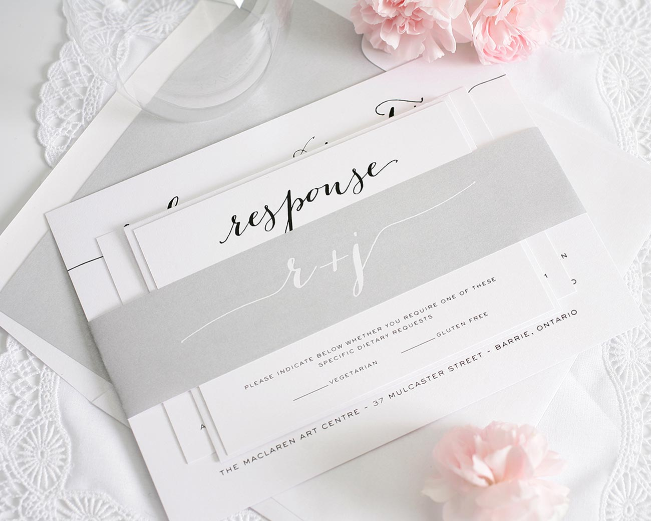 Gray script wedding invitations