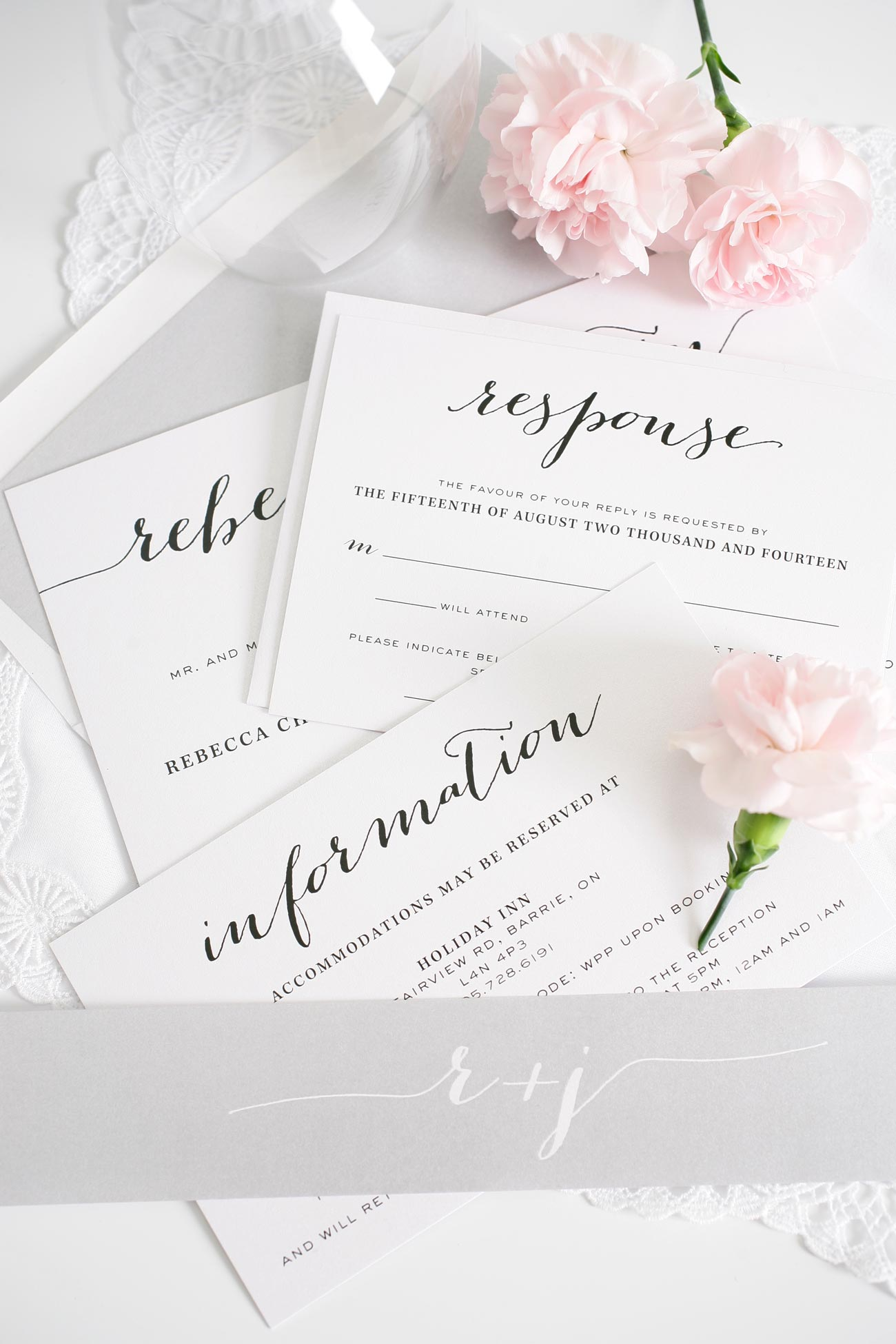 Silver wedding invitations with calligraphy font