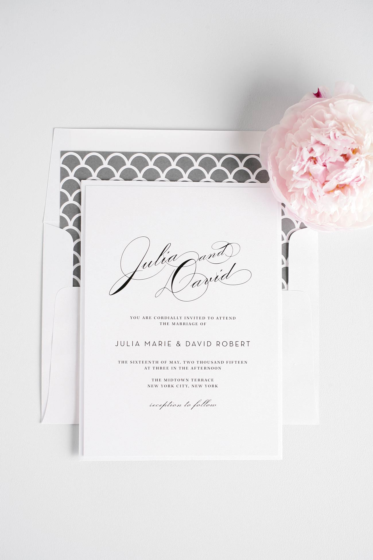 Gray scalloped vintage wedding invitations