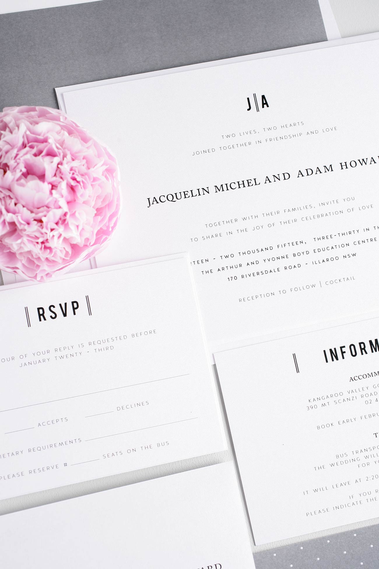 Modern Gray Wedding Invitations