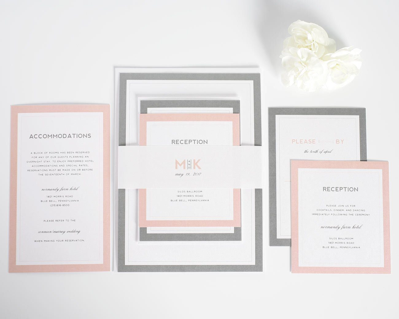 Modern wedding invitations in blush and gray