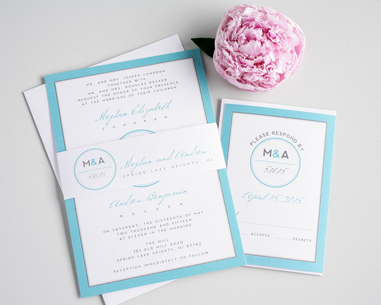 Blue Monogram Wedding Invitations Modern Wedding Invitations With Circle  Monogram
