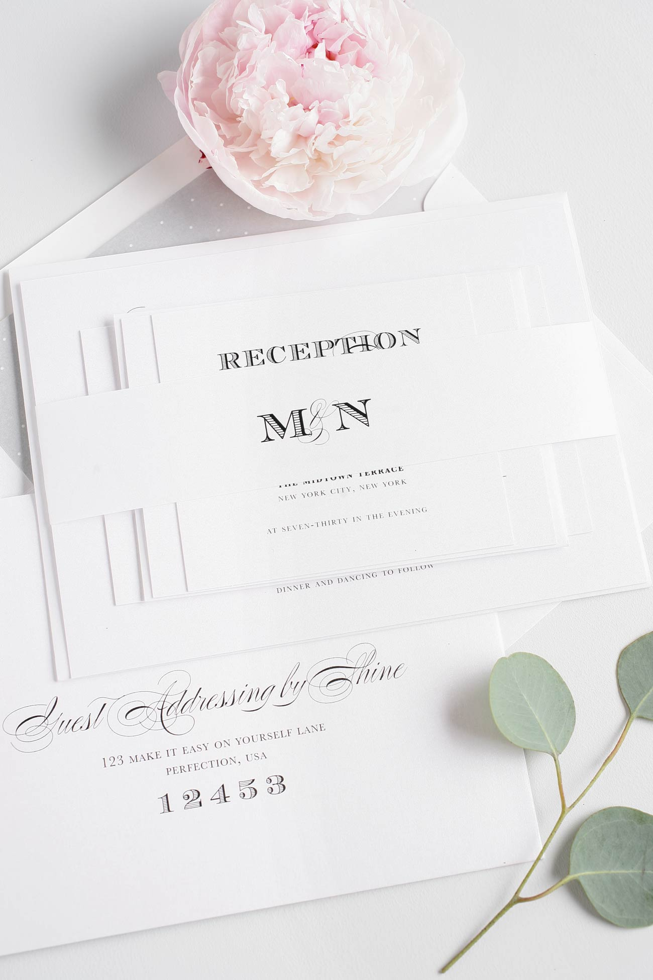 Monogram wedding invitations with engravers type